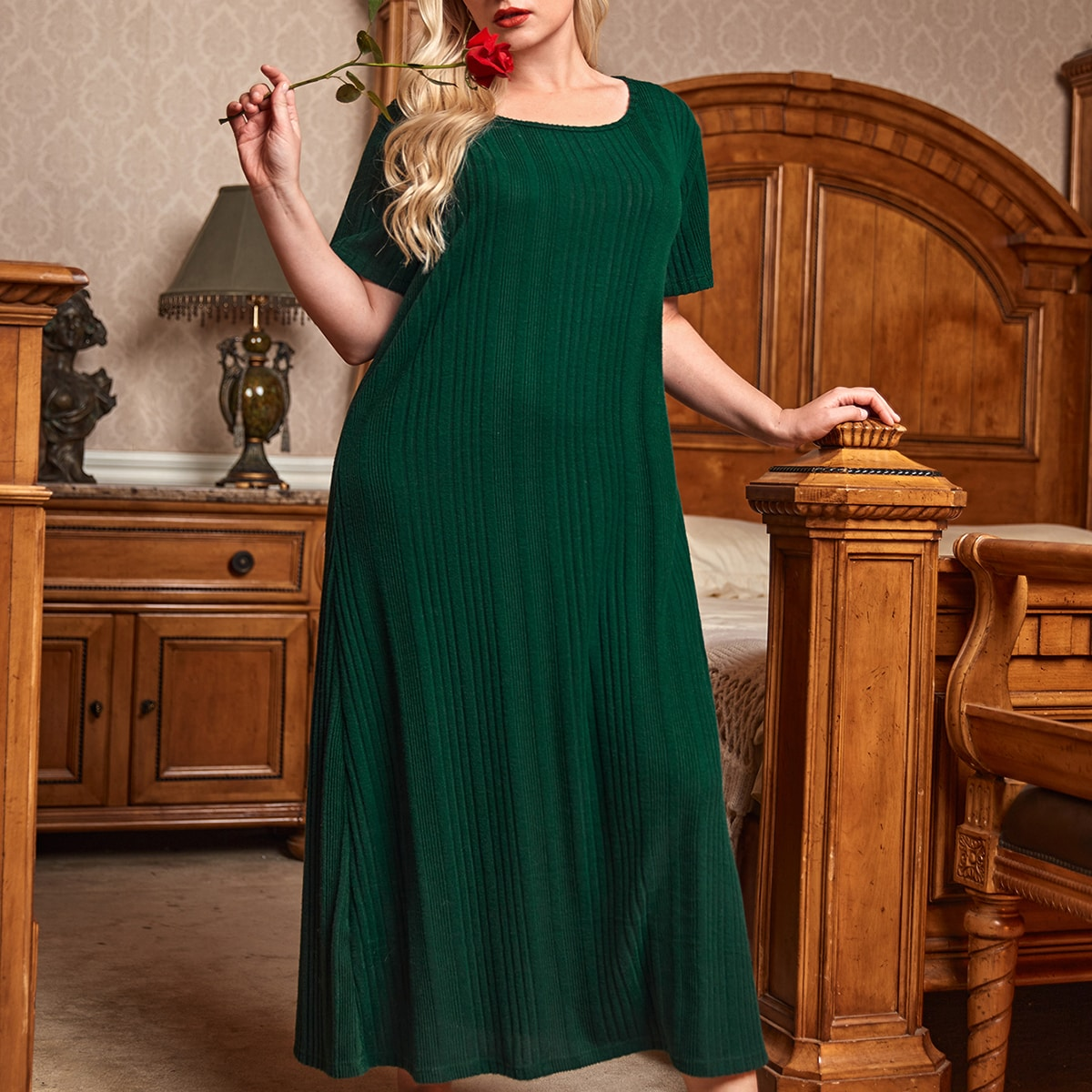 Plus Solid Rib-knit Night Dress, SHEIN  - buy with discount
