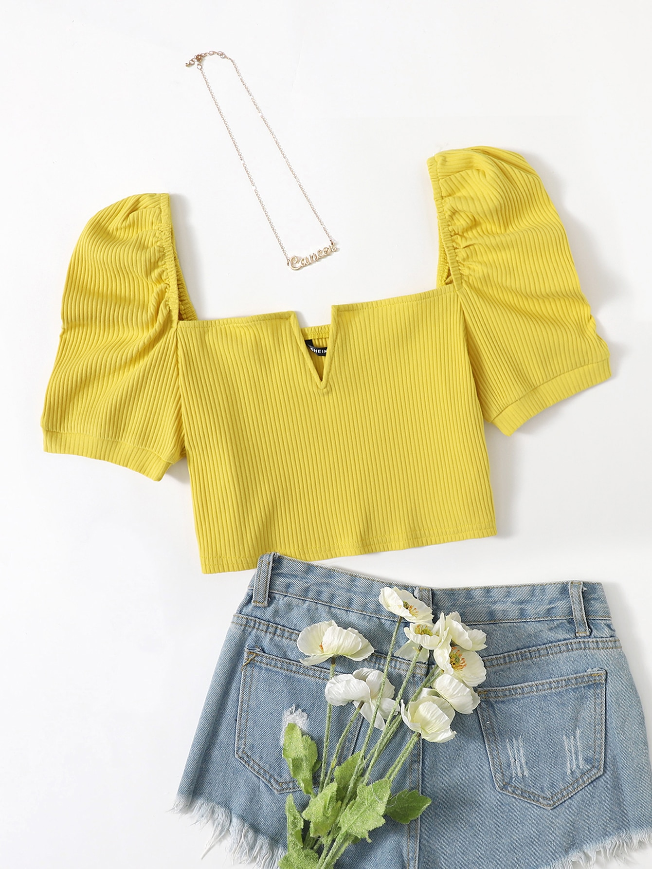 Ribbed V-Wire Puff Sleeve Crop Top thumbnail