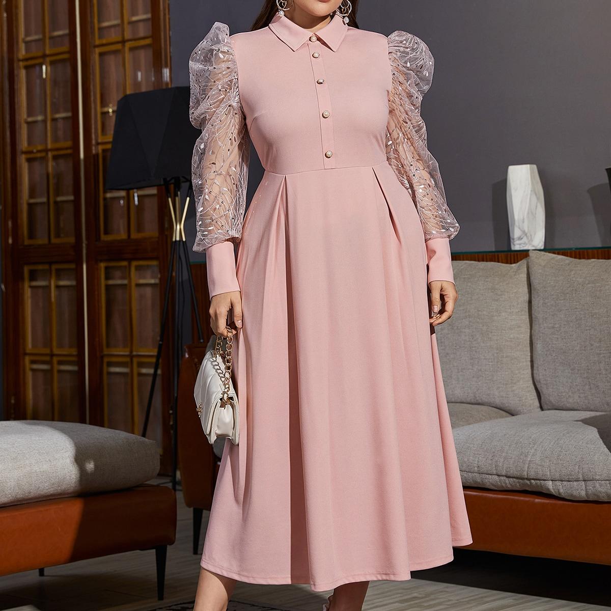 Вышивка Одноцветный Очаровательный Платья размер плюс