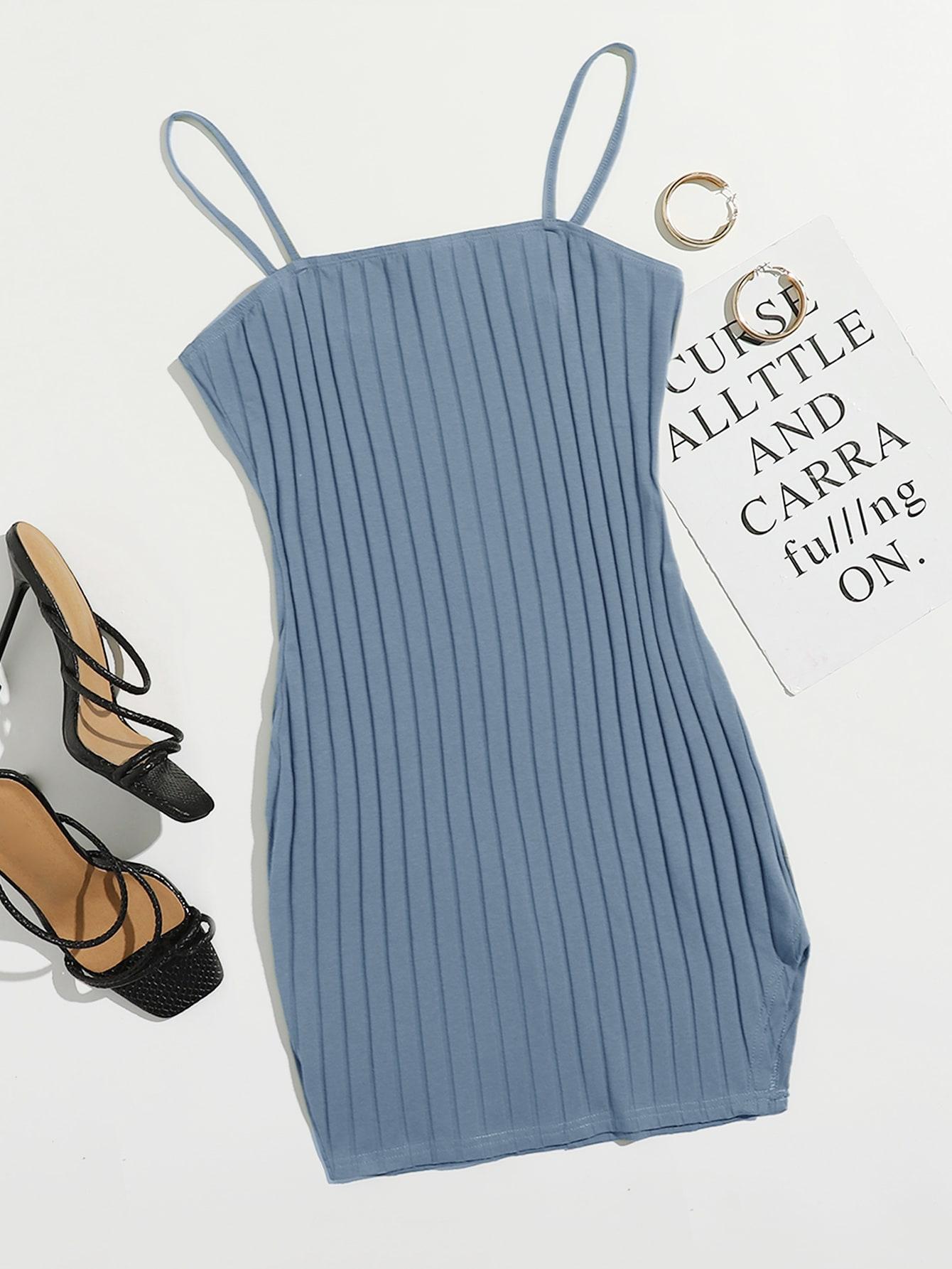 Rib-knit Solid Bodycon Dress thumbnail