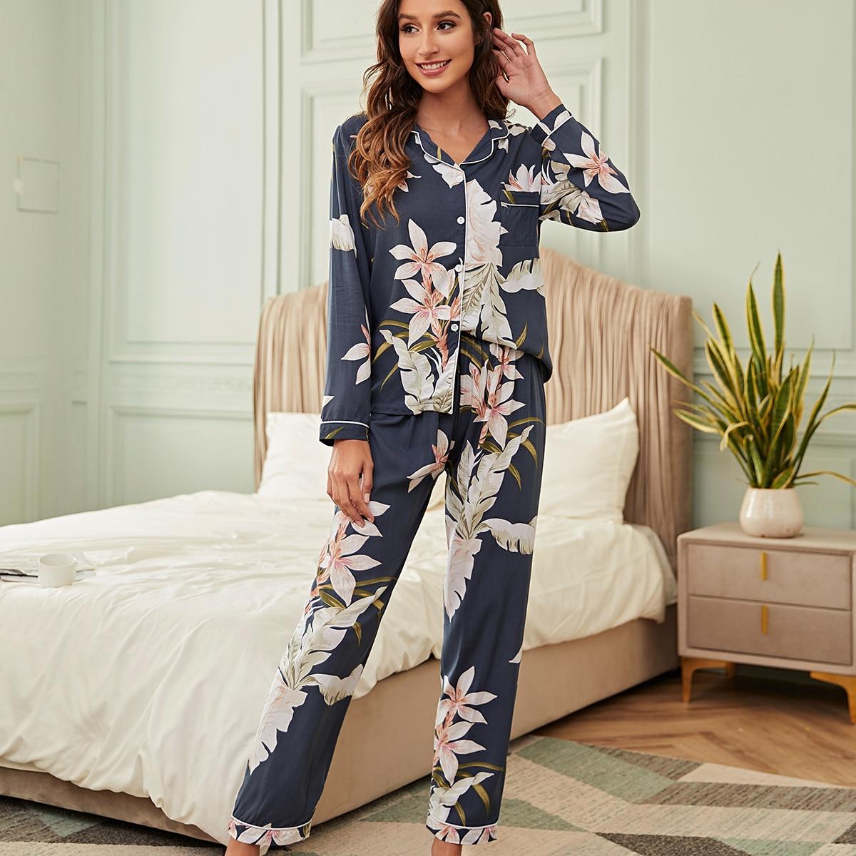 с карманами Цветочный принт Элегантный Пижама