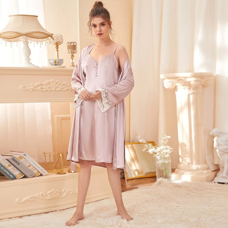 Solid Cami Nightdress & Contrast Lace Belted Robe, Baby pink