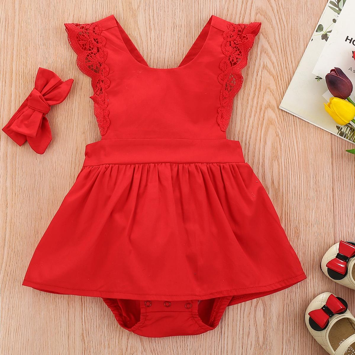 для девочек с кружевной отделкой Составной комплект Боди Платье & Ободок для волос от SHEIN