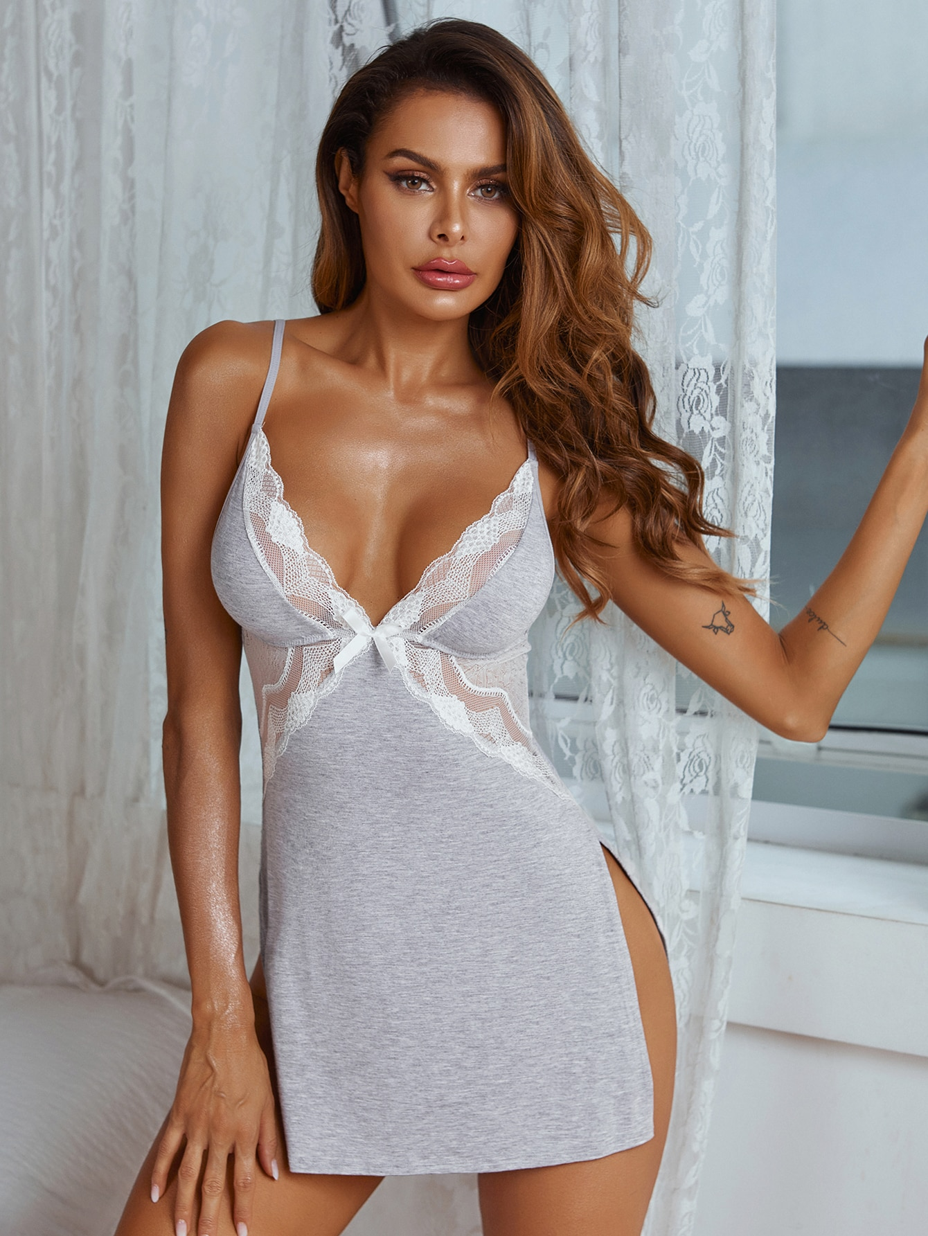 Contrast Lace Dress With Thong thumbnail