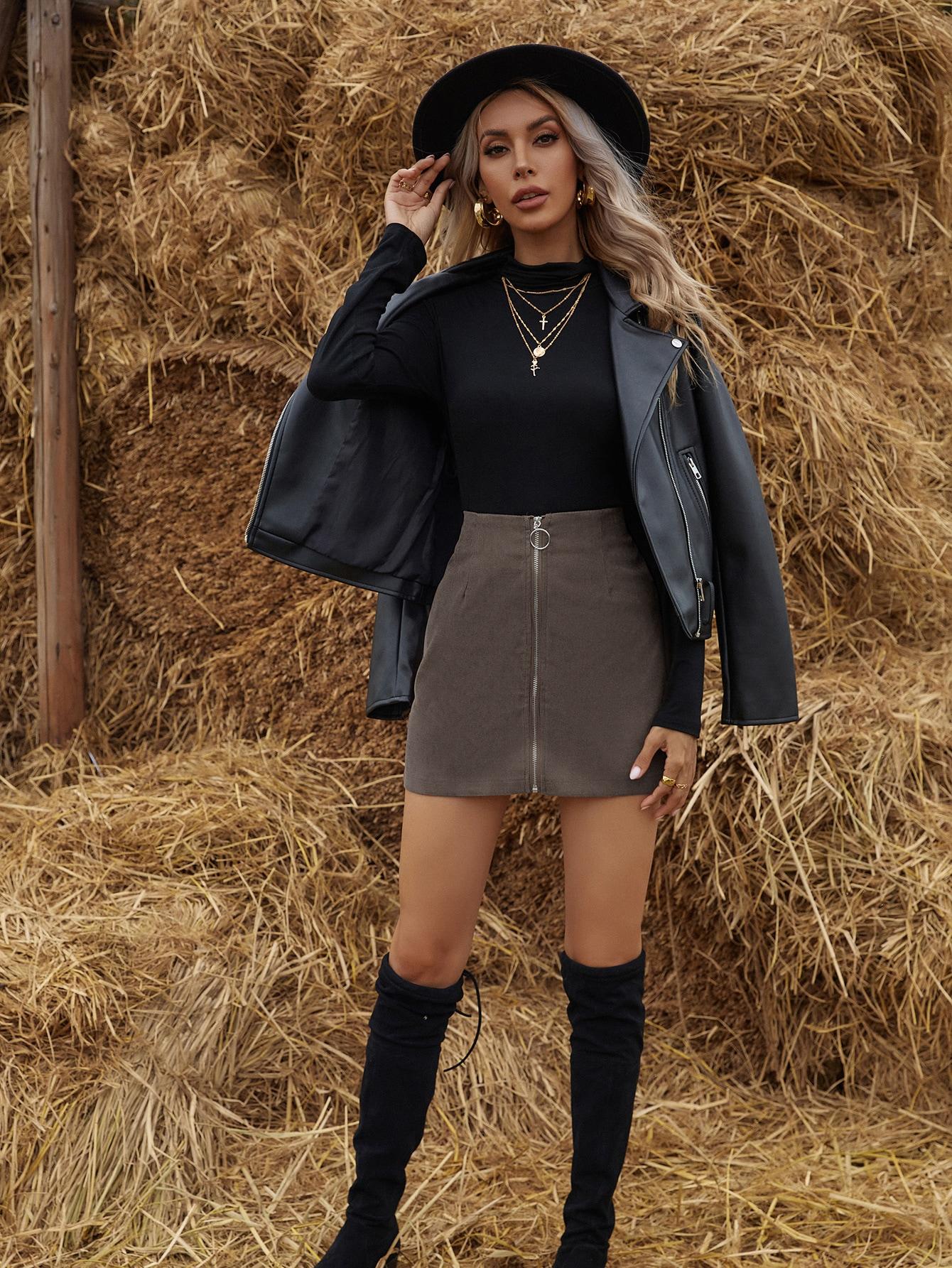 Corduroy Zipper Front Mini Skirt thumbnail