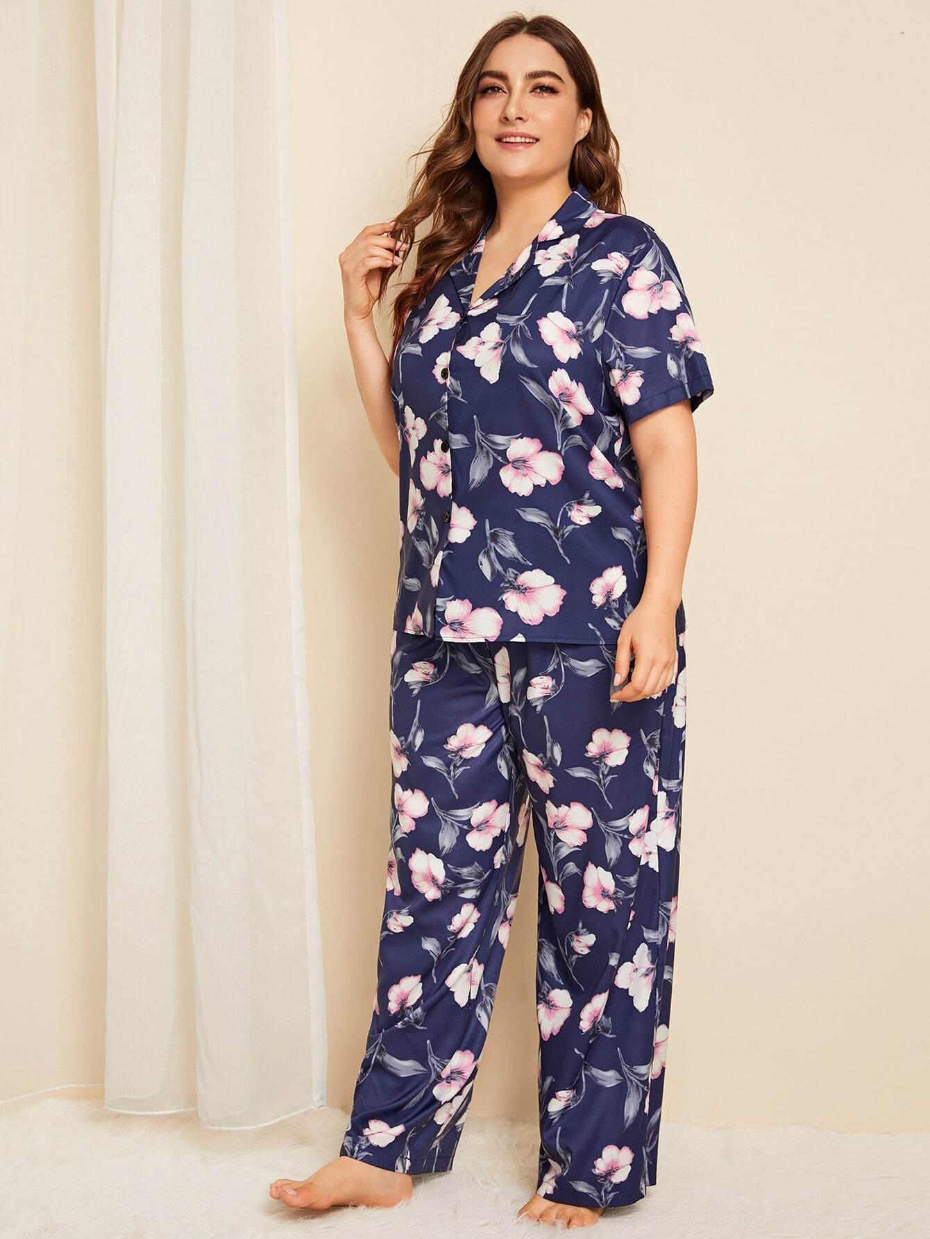Plus Allover Floral Button Front Pajama Set