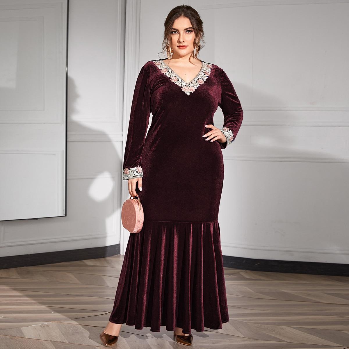 Бархатное платье-русалка размера плюс с кружевной отделкой