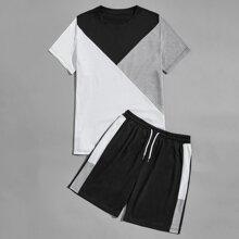 Guys Colorblock Tee With Drawstring Waist Shorts
