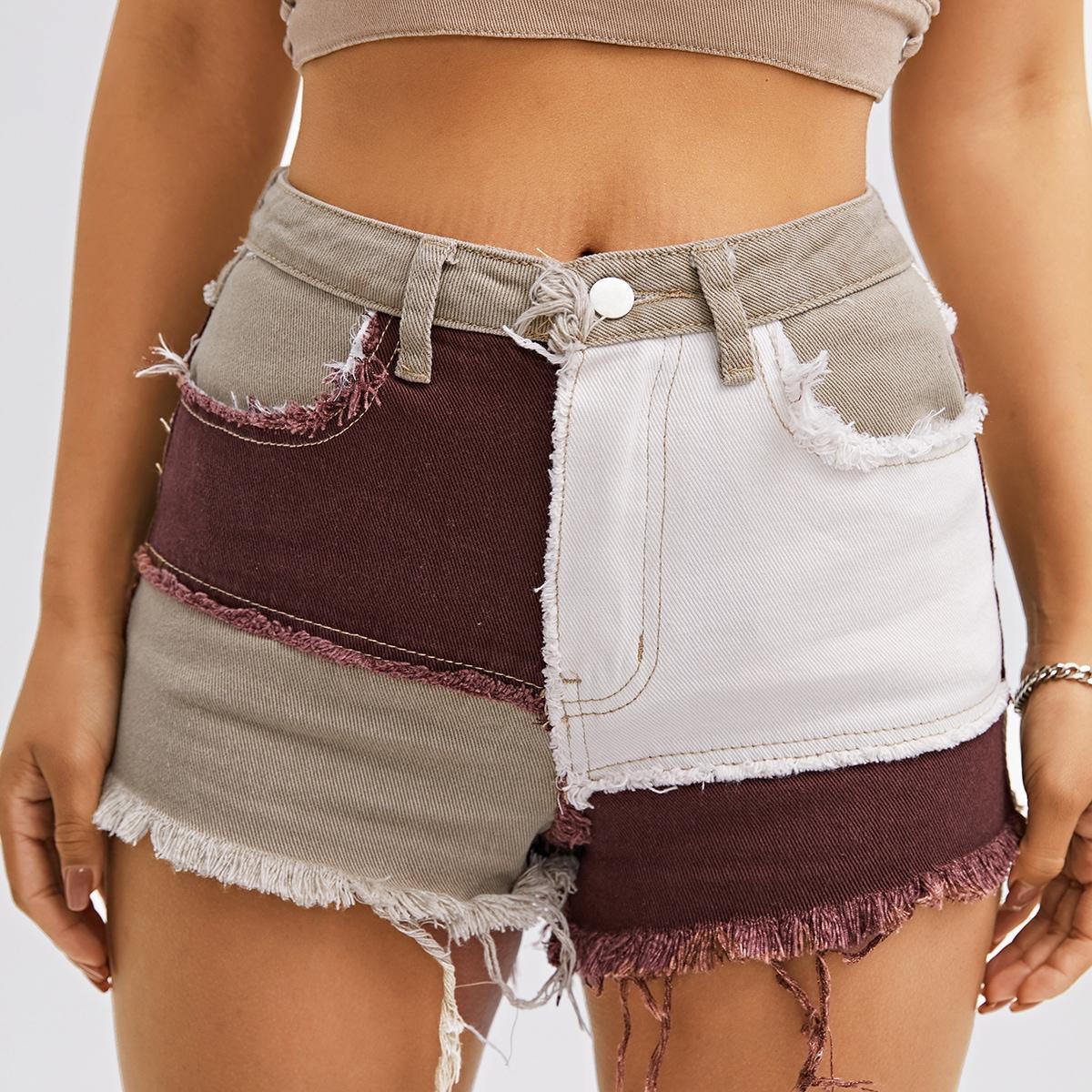 Пугавица контрастный джинсовые шорты