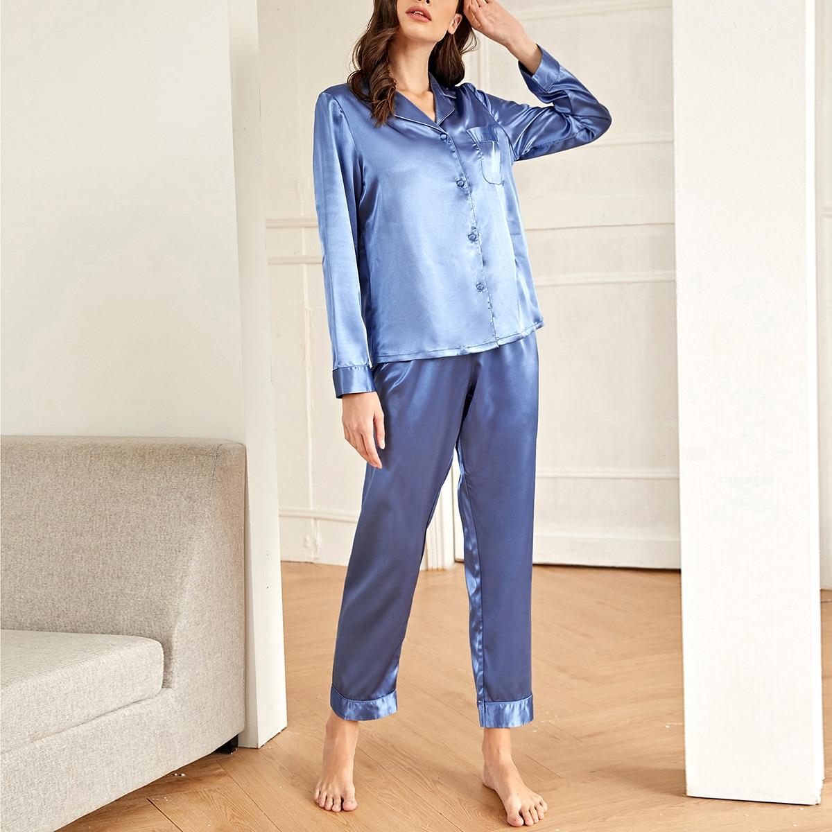 с карманами Одноцветный Минимализм Комплект пижамы