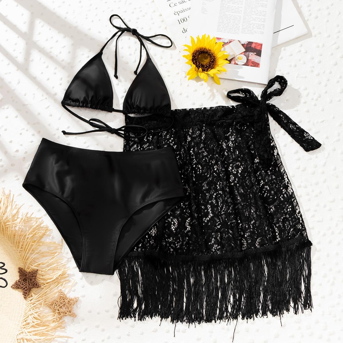 3 пакета бикини и кружевная пляжная юбка