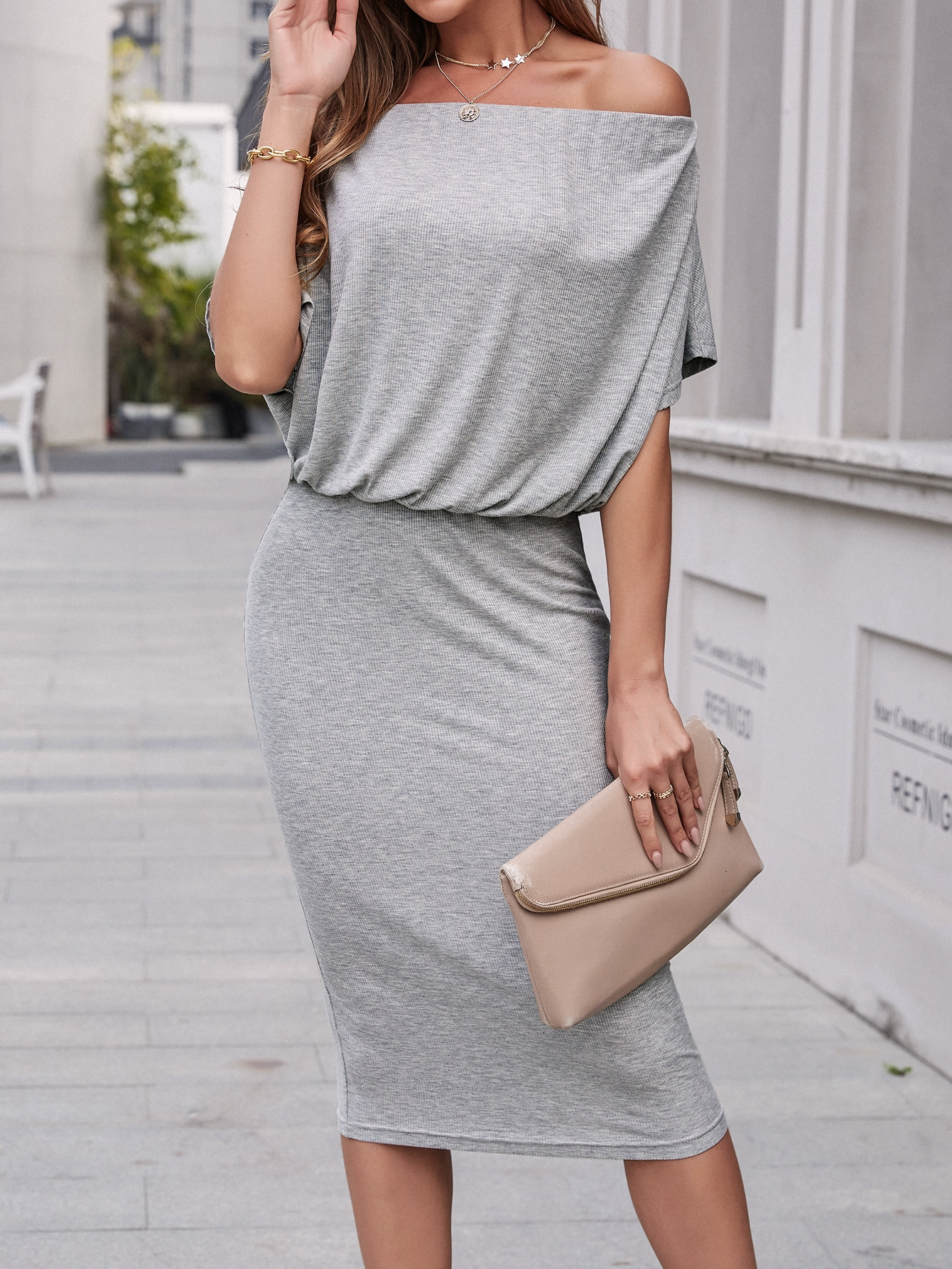 rib-knit solid off the shoulder dress