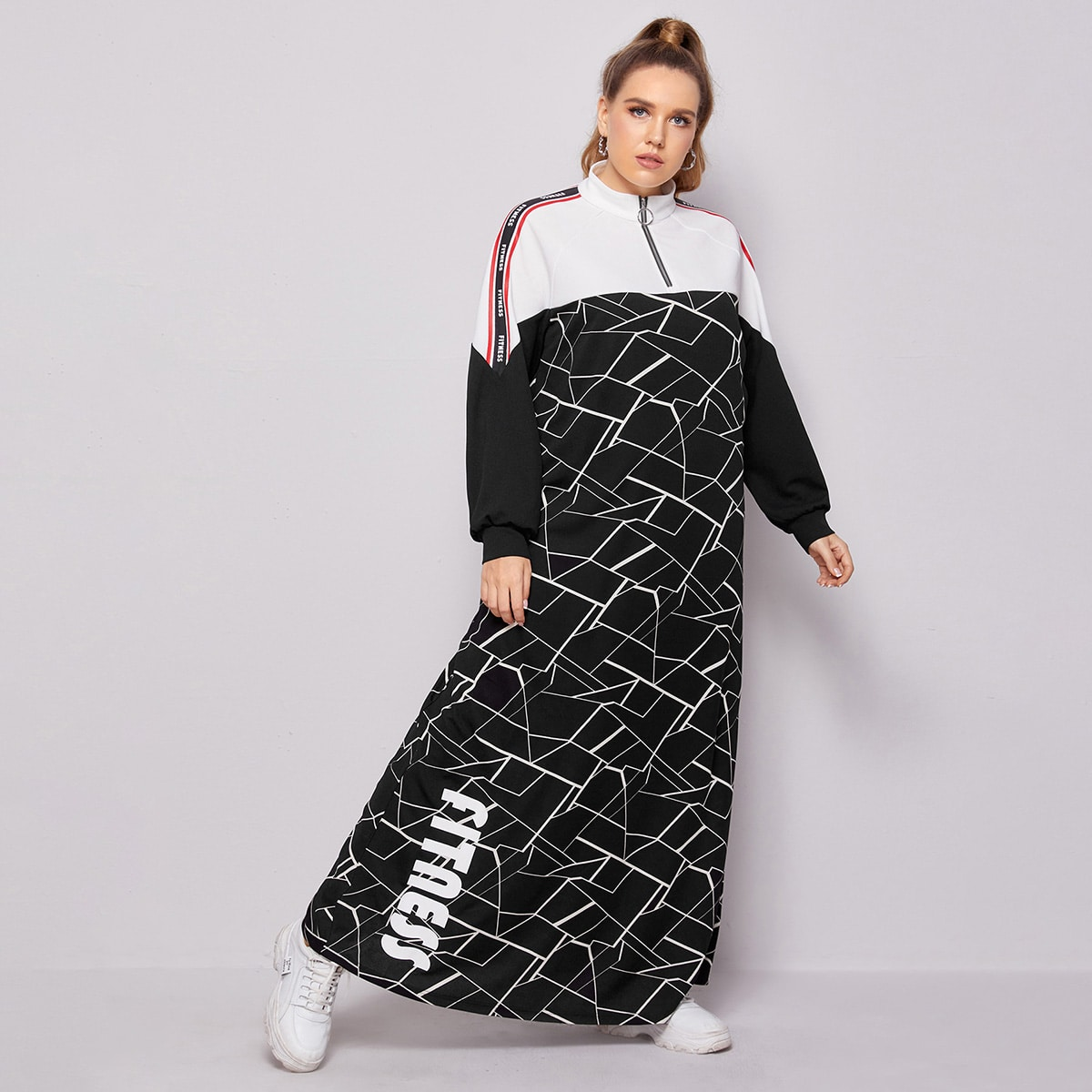 Застежка Геометрический Спортивный Платья размер плюс