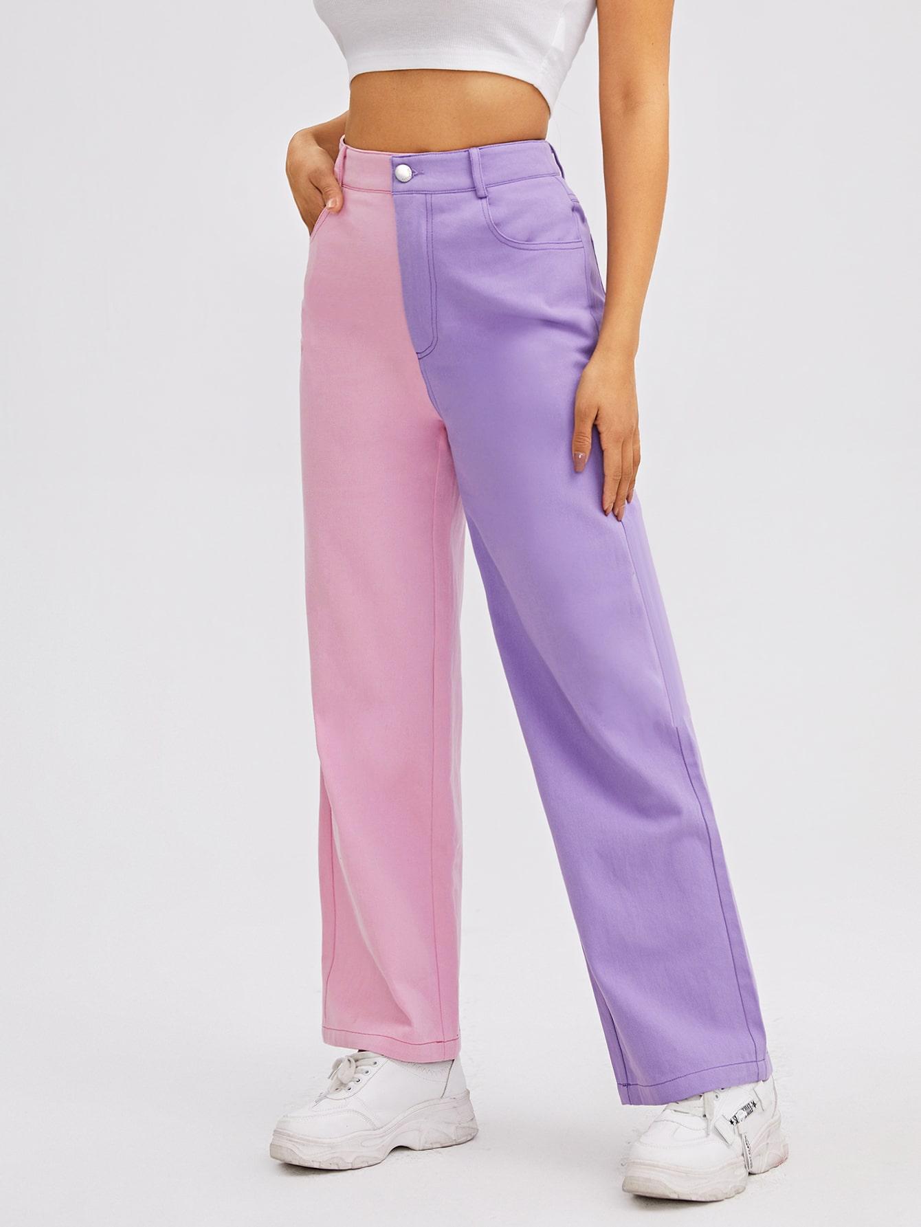 Colorblock Zipper Fly Pants thumbnail