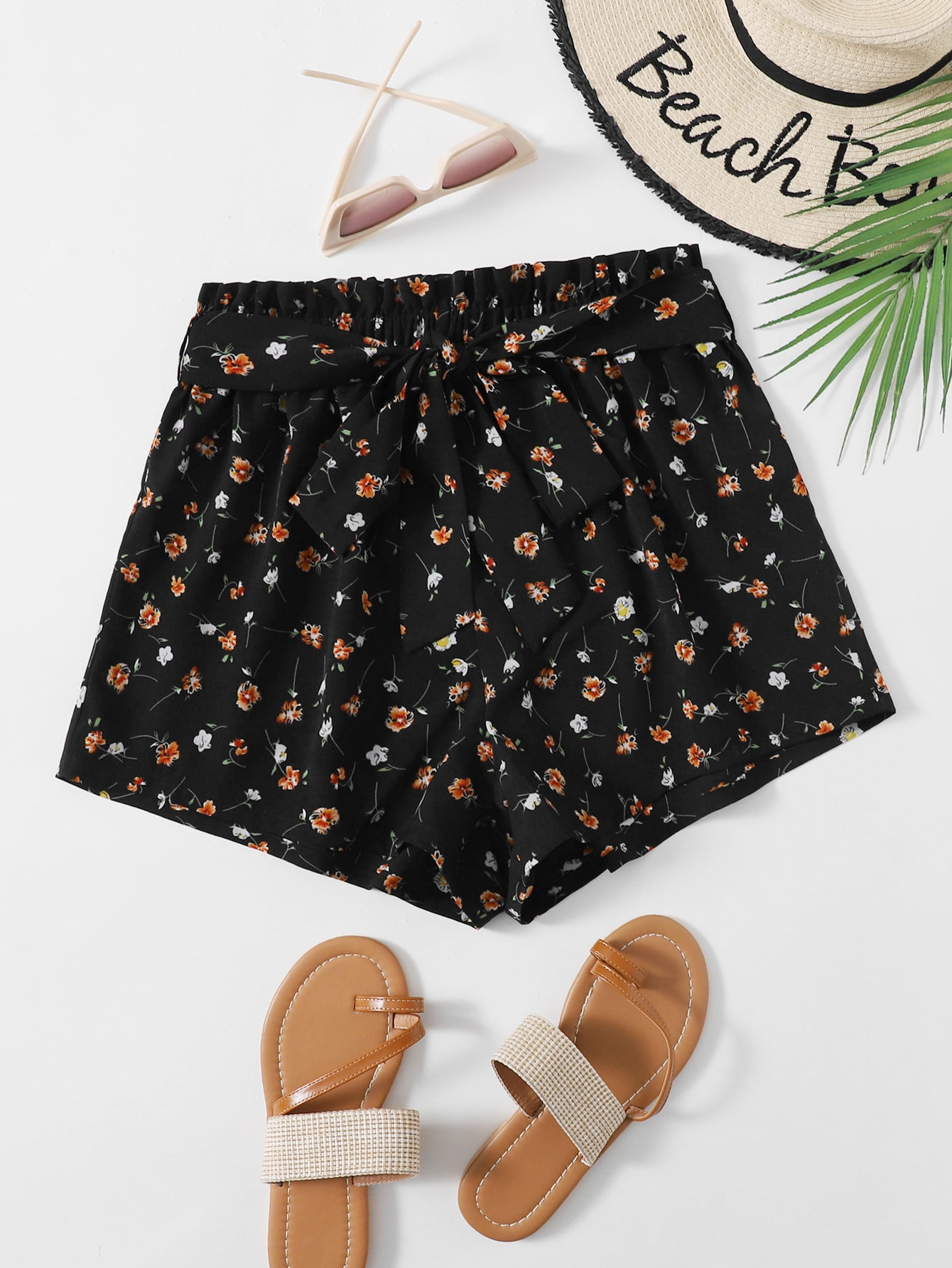 Floral Belted Shorts thumbnail