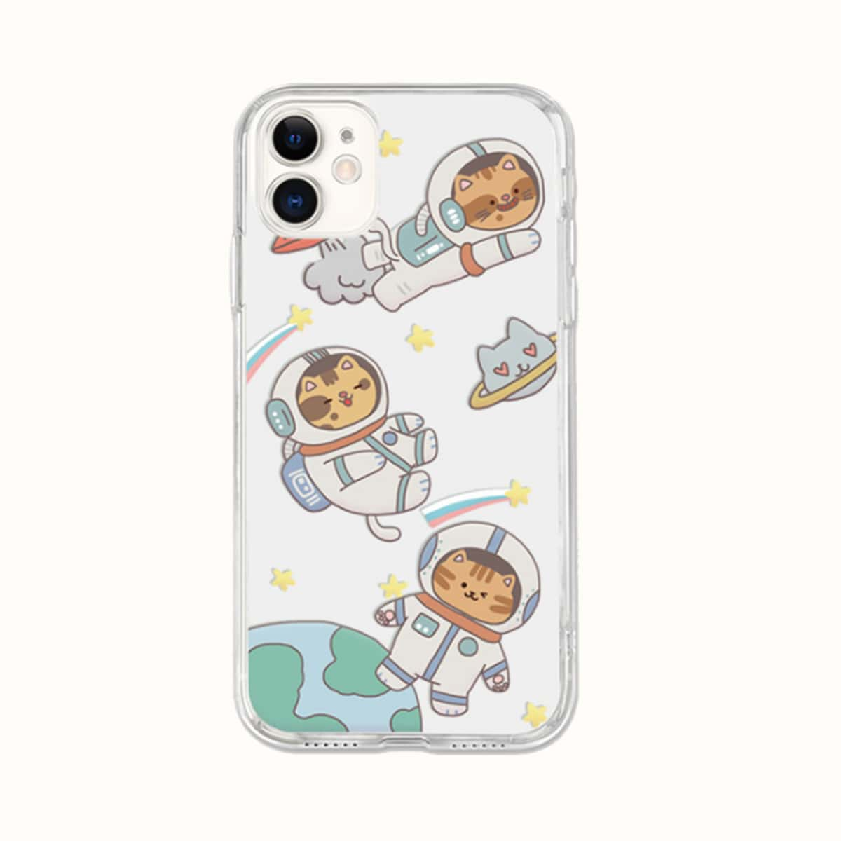 Cartoon Space Cat Clear Phone Case, SHEIN  - buy with discount