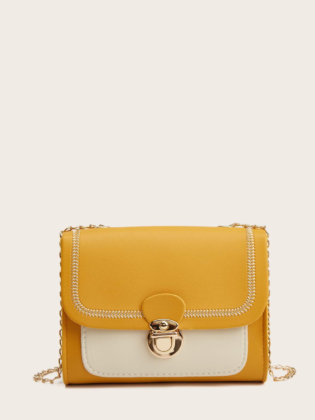 Stitch Trim Color Block Push Lock Chain Bag thumbnail