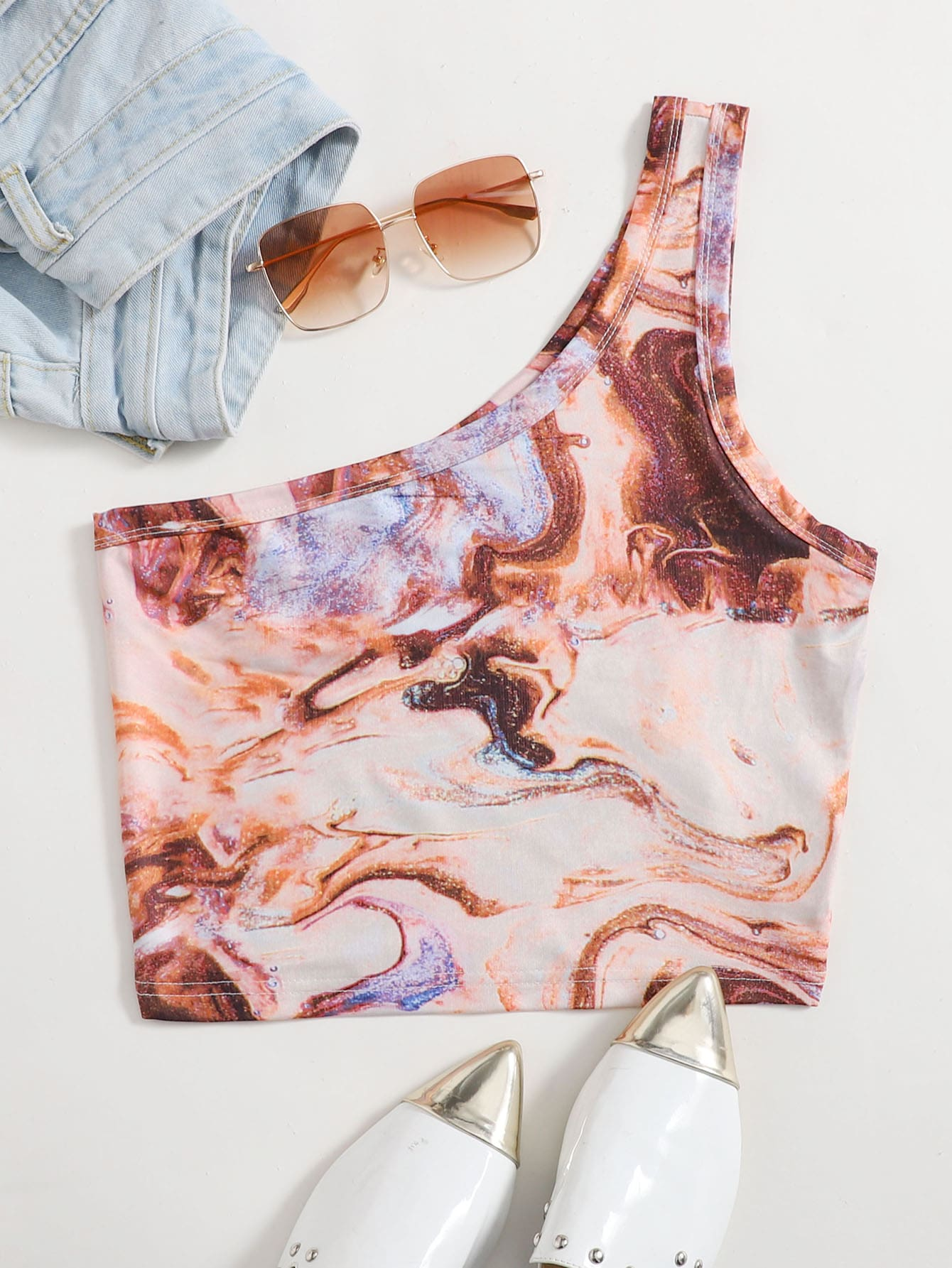 Marble Print One Shoulder Top thumbnail