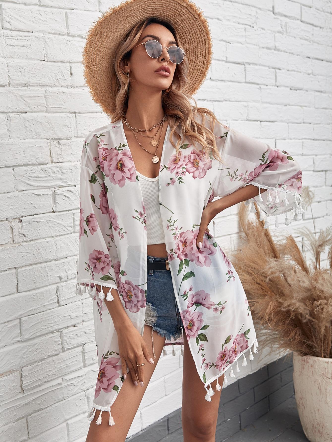 Floral Fringe Trim Kimono thumbnail