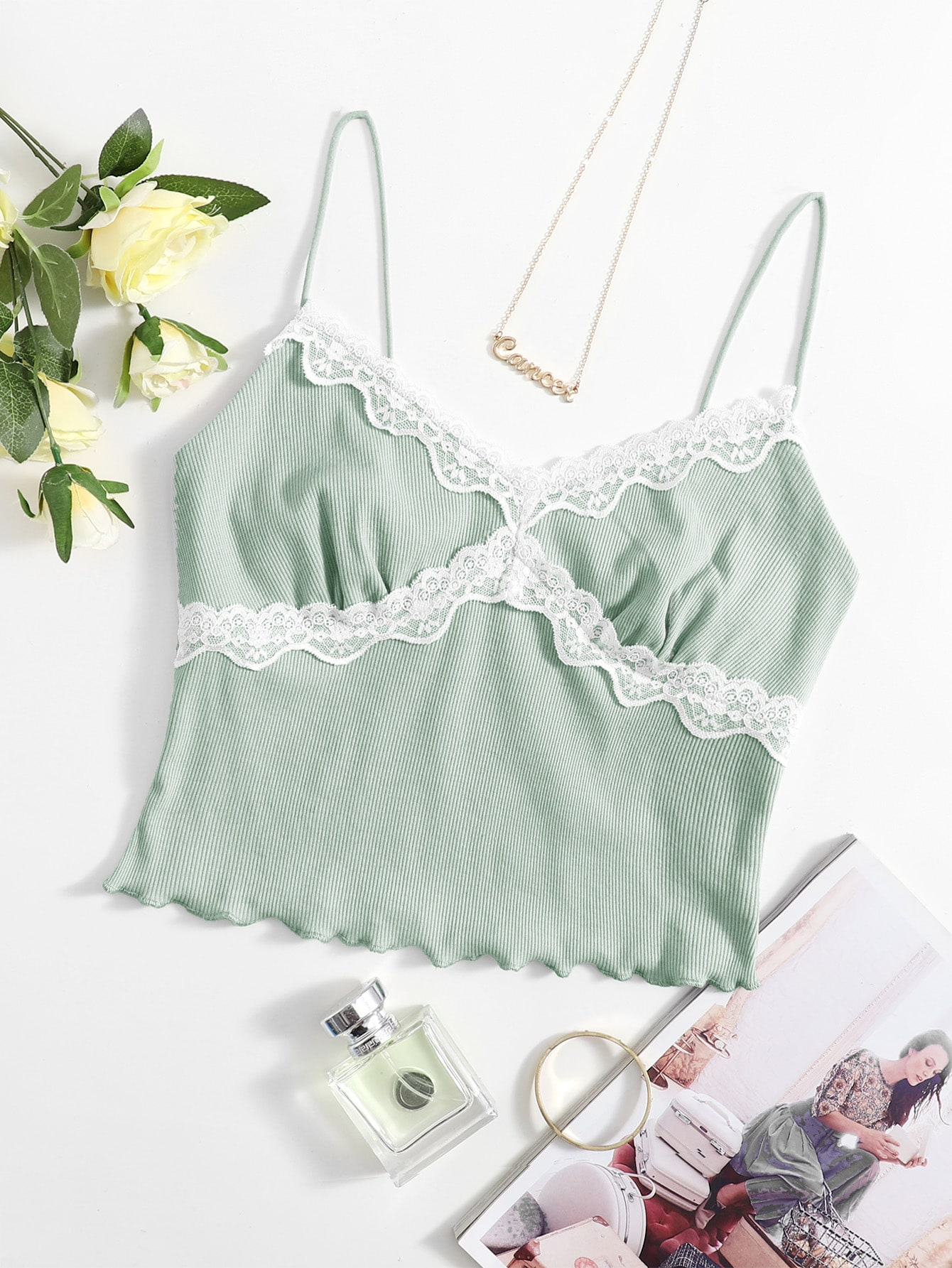 Contrast Lace Detail Crop Cami Top thumbnail