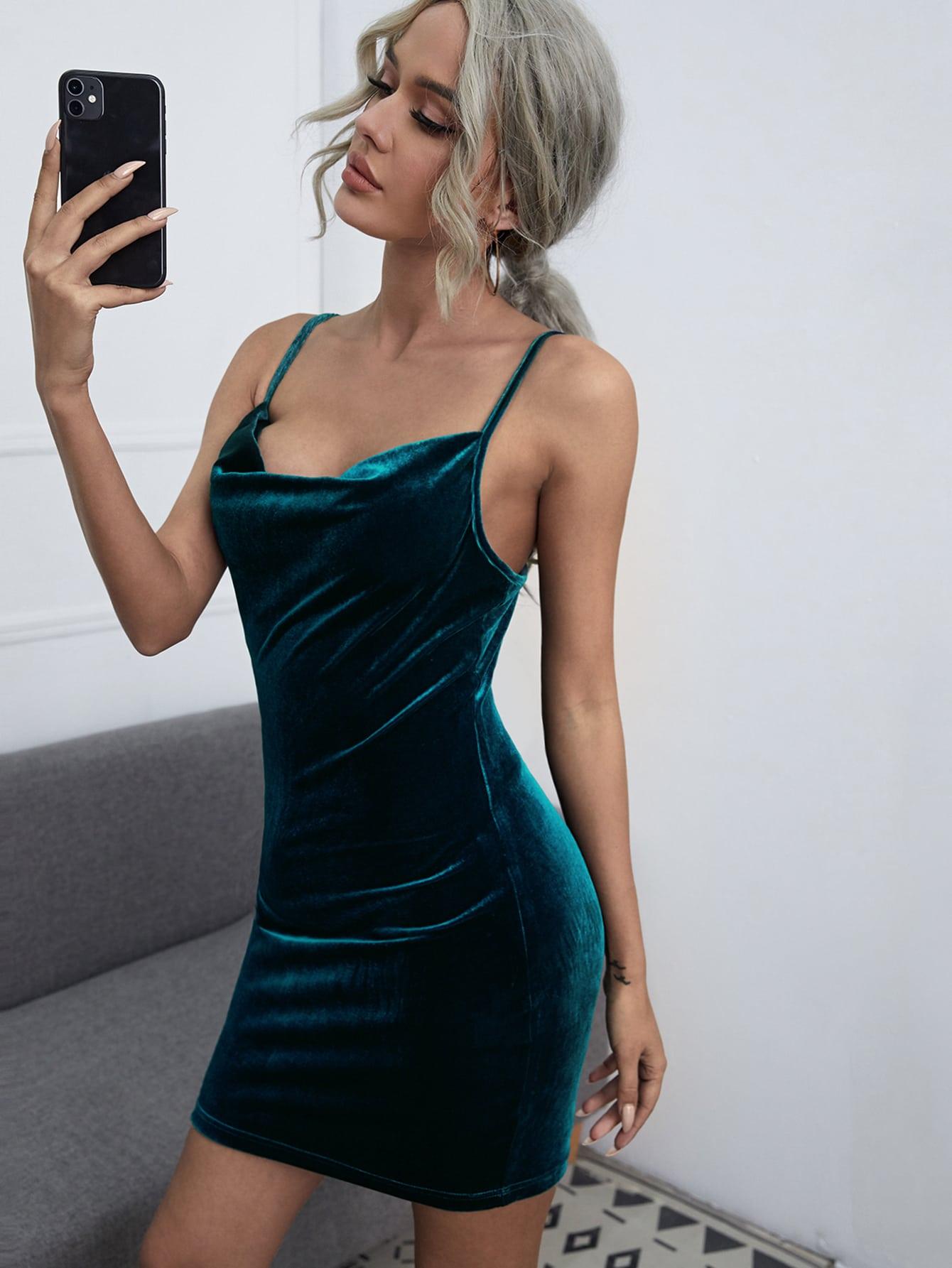 Cowl Neck Velvet Dress thumbnail