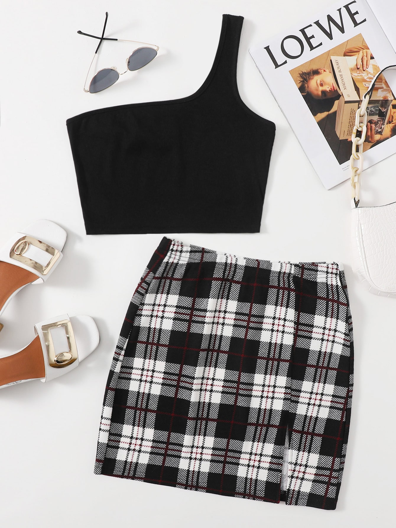 One Shoulder Crop Top & Slit Hem Plaid Skirt Set thumbnail