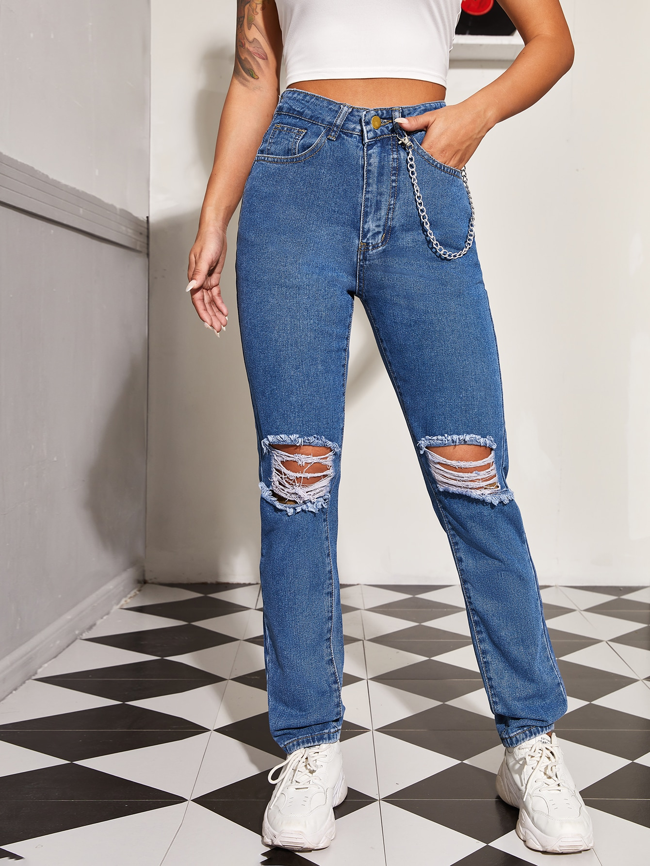 High Waisted Ripped Detail Mom Jeans With Chain thumbnail