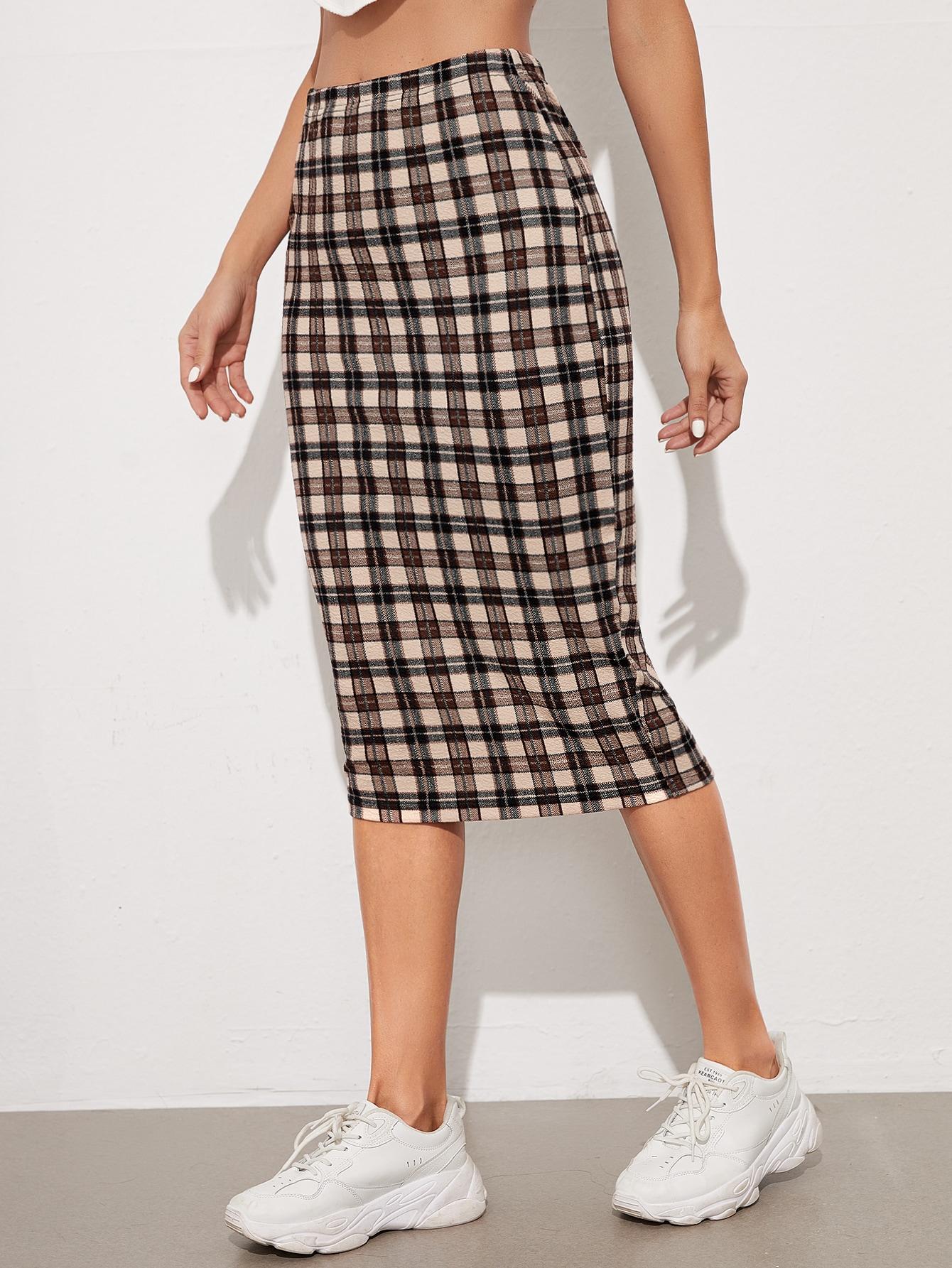 Tartan Print Pencil Skirt thumbnail