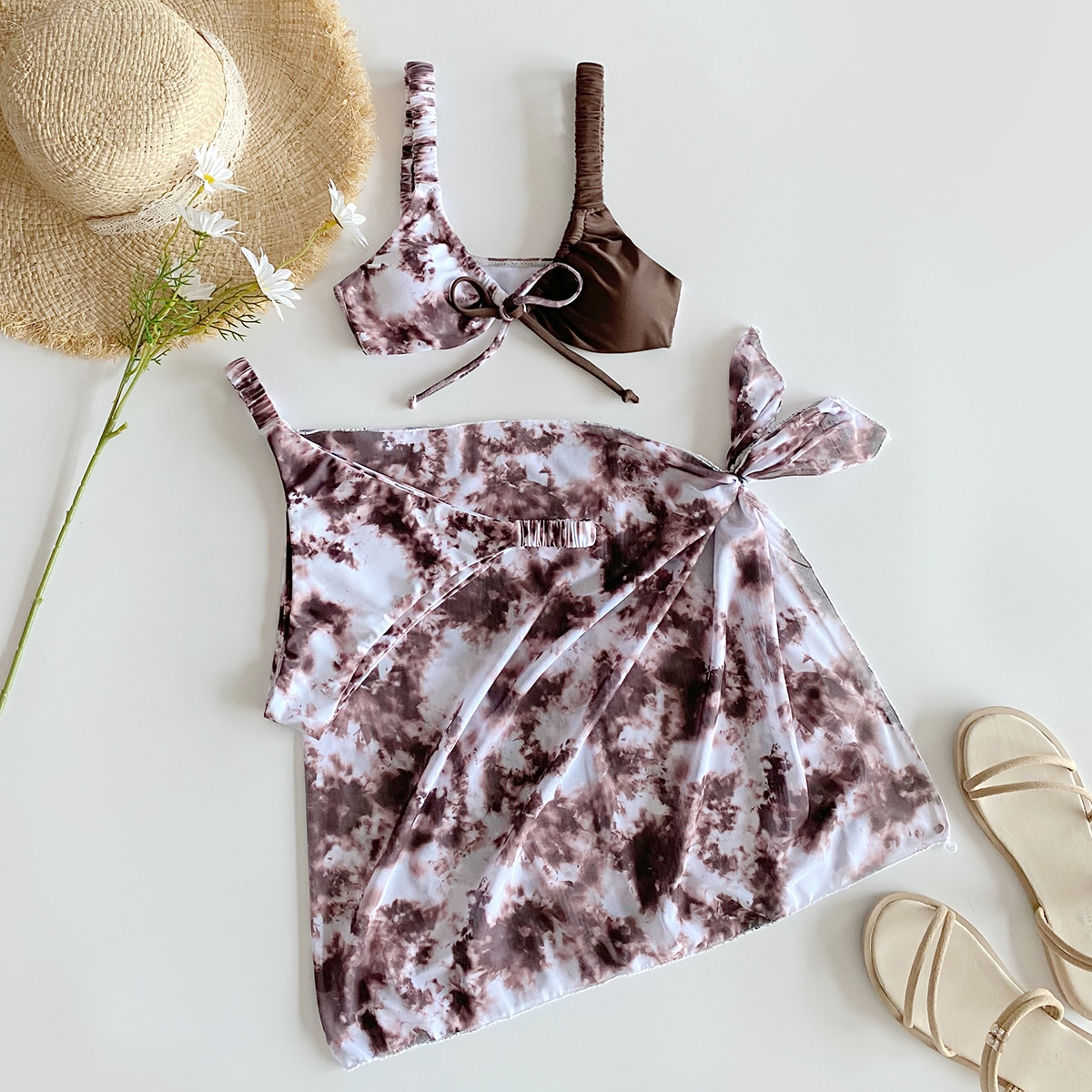 SHEIN / 3pack Tie Dye Knot Bikini Swimsuit & Beach Skirt