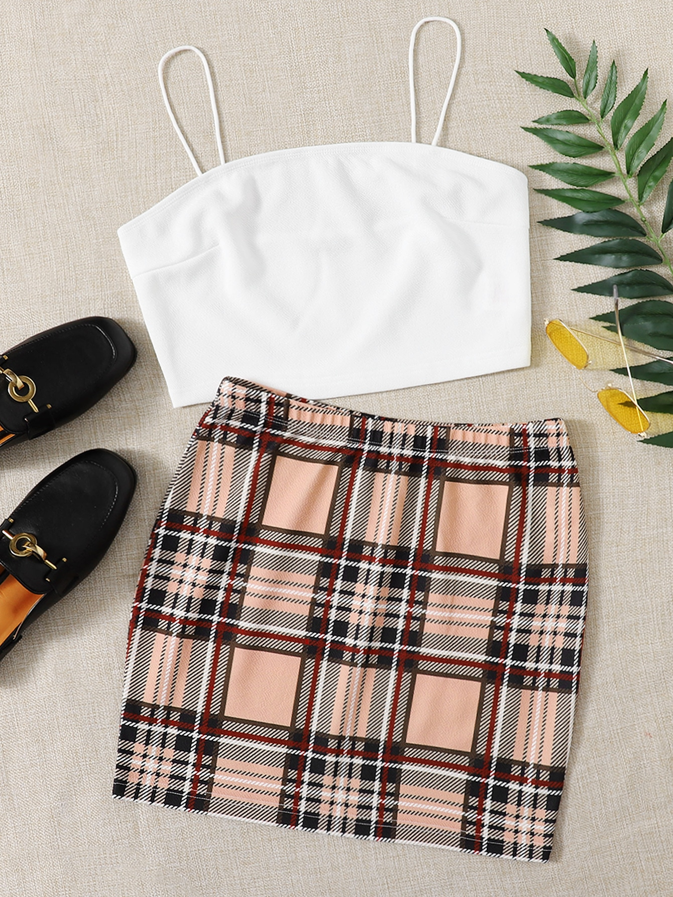 Crop Cami Top & Tartan Skirt Set thumbnail