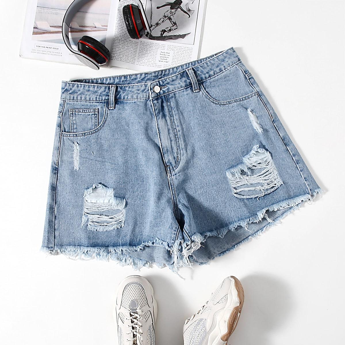 С карманами одноцветный джинсовые шорты размер плюс