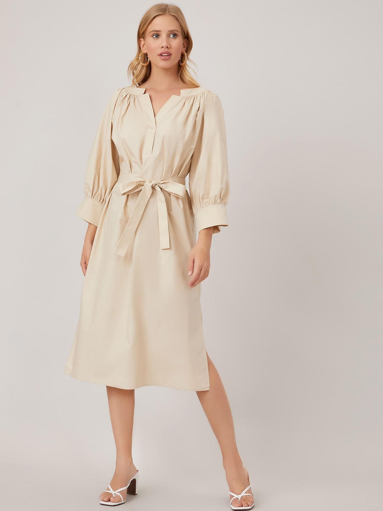 100% COTTON BELTED SHIRT DRESS thumbnail