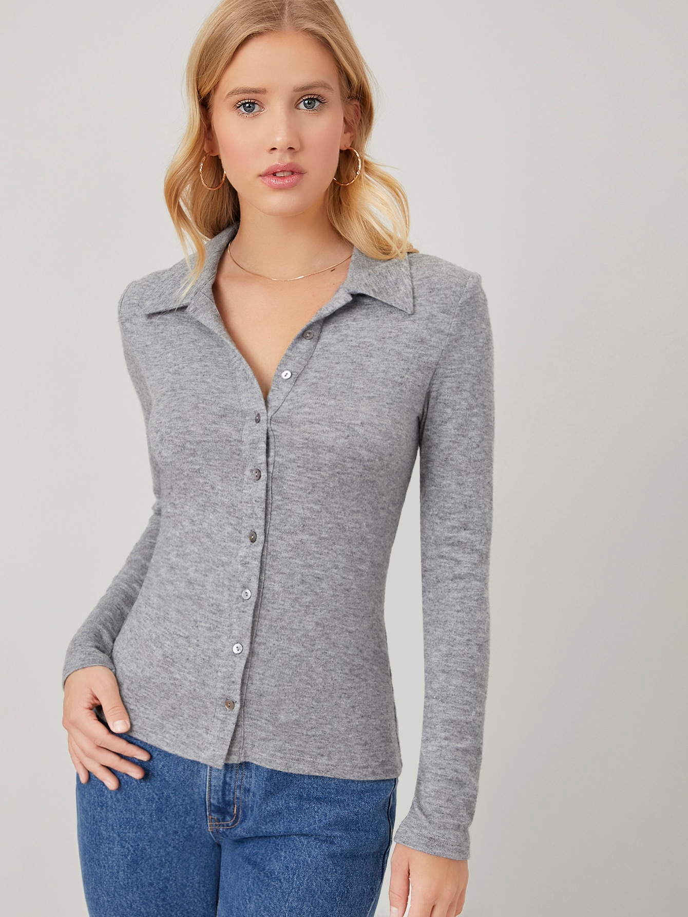 RAYON HEATHER KNIT BUTTON TOP thumbnail