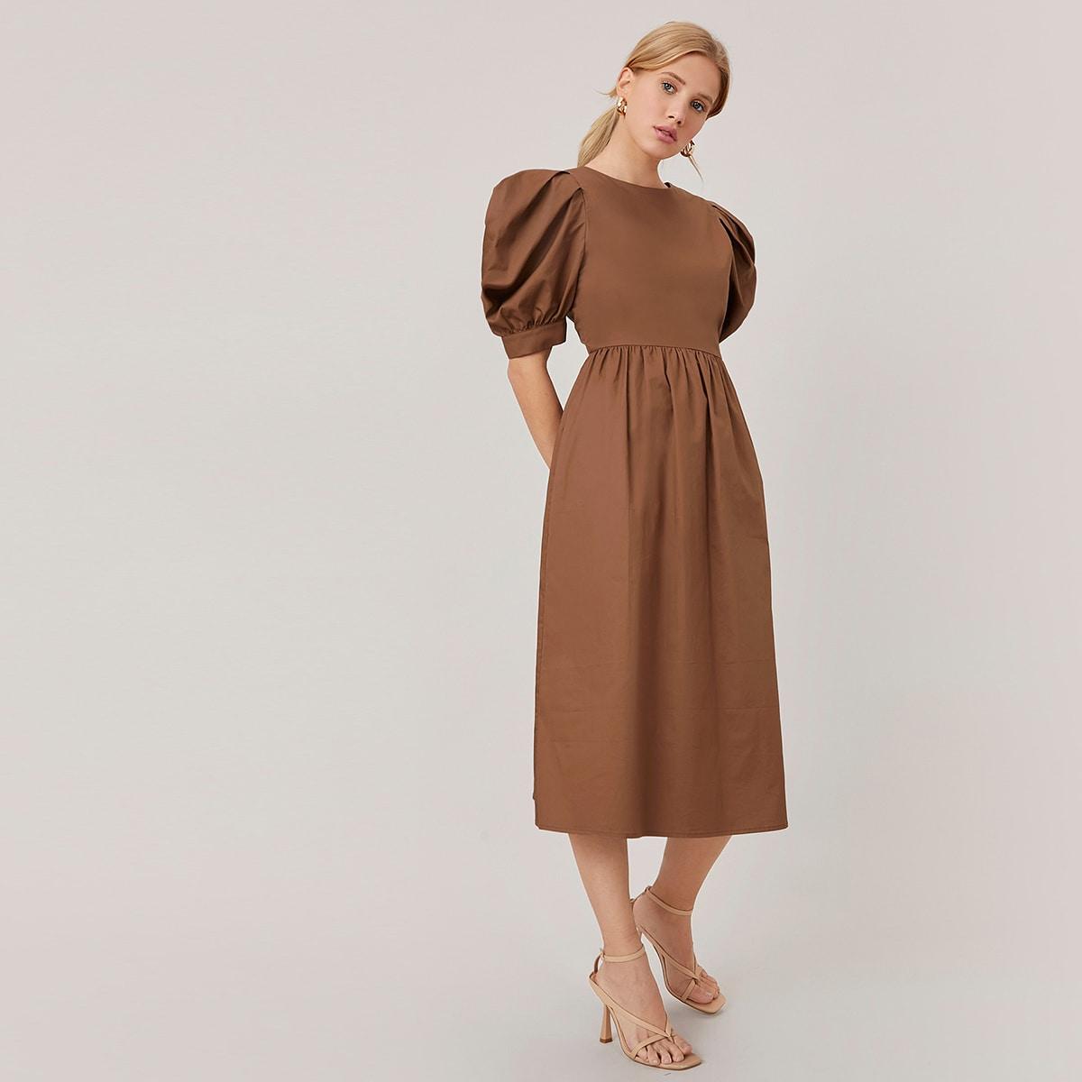 Платье из 100% хлопка с пышным рукавом
