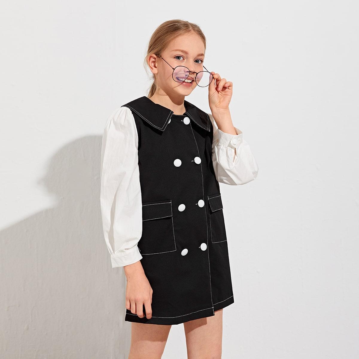 Zweireihiges Kleid mit Peter-Pan Kragen und Taschenklappe