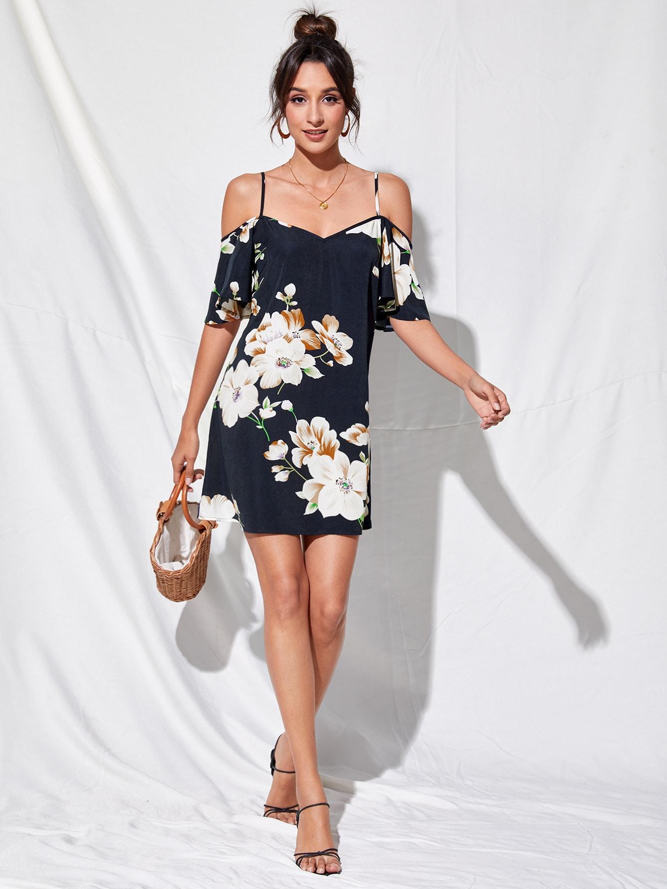 Cold Shoulder Floral Print Dress thumbnail