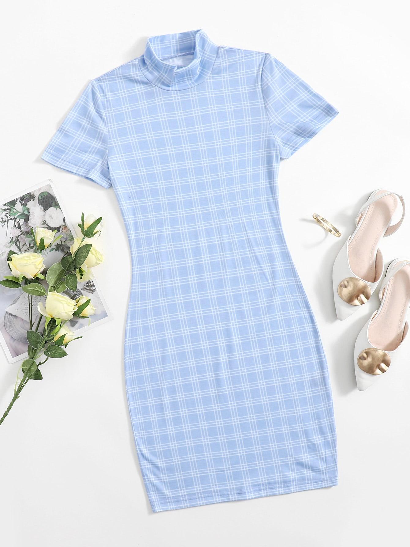 Mock-Neck Plaid Dress thumbnail