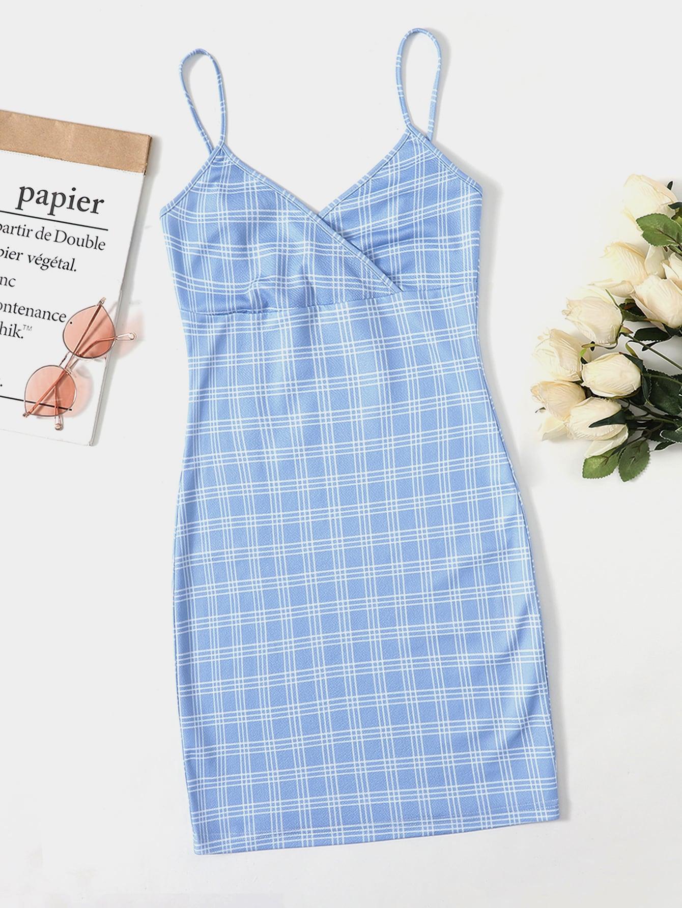 Surplice Neck Plaid Dress thumbnail