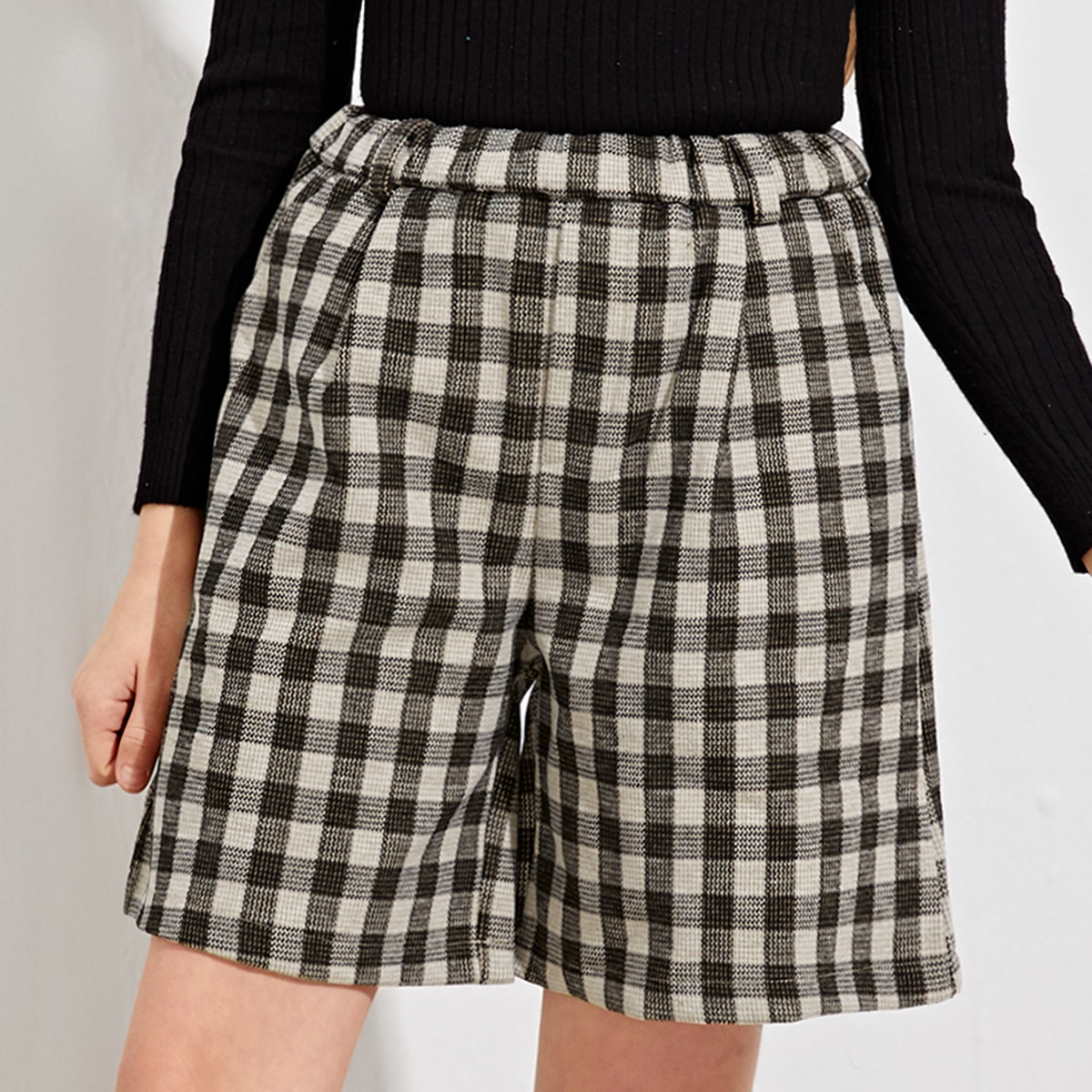 Girls Plaid Patched Straight Shorts, SHEIN  - buy with discount