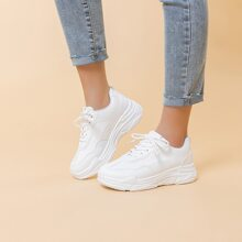 Solid Lace-up Chunky Sneakers