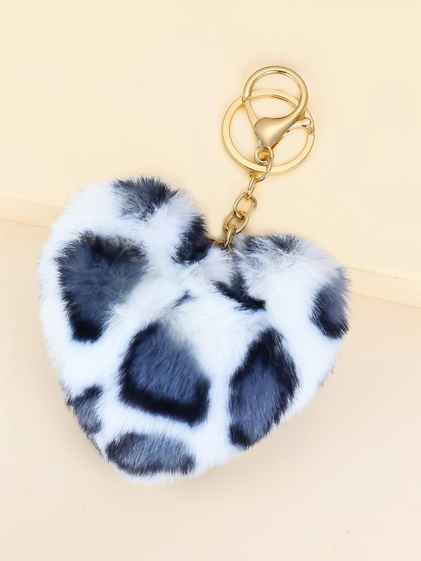 Fluffy Heart Charm Keychain thumbnail