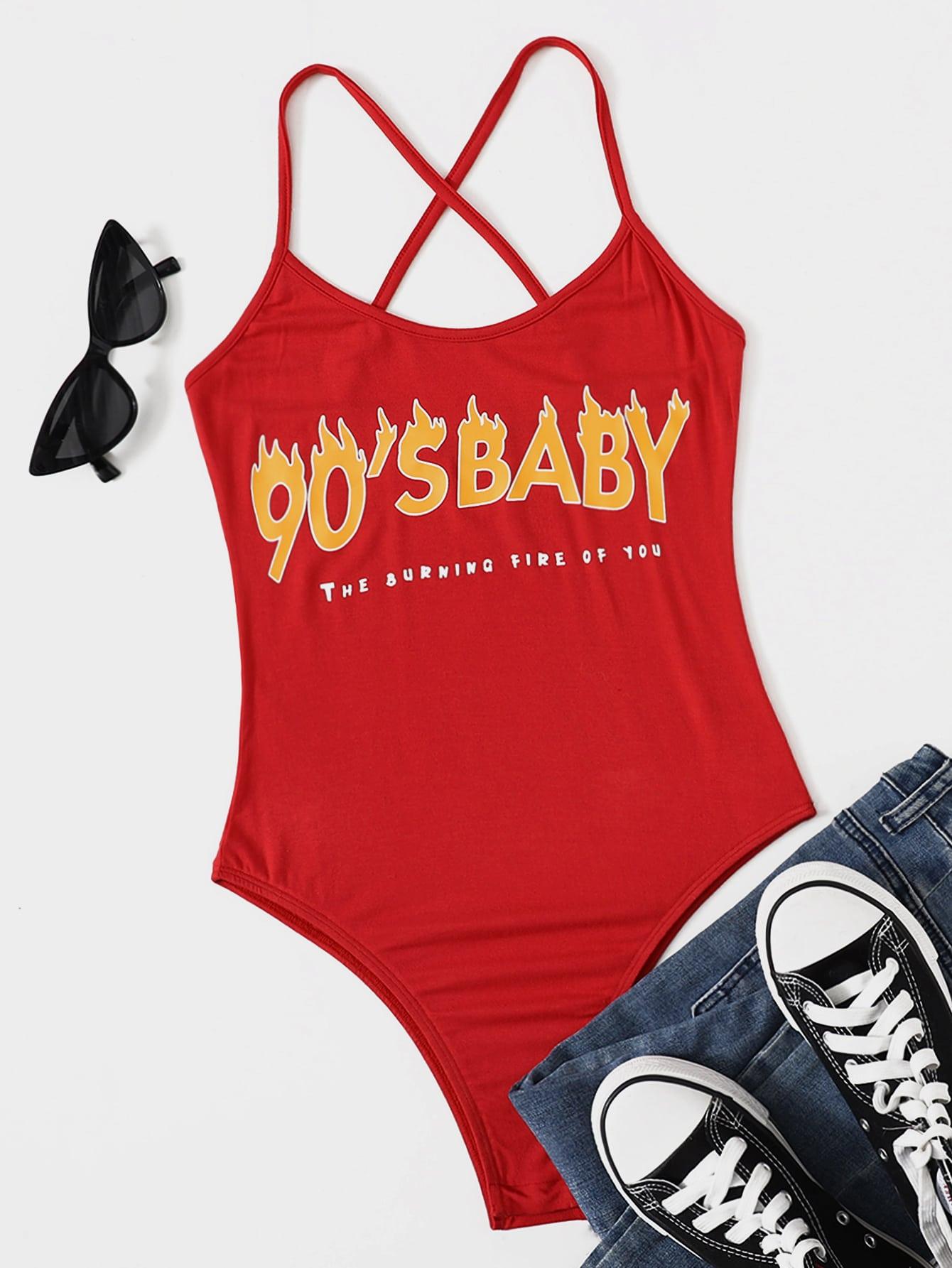 Crisscross Fire & Slogan Graphic Bodysuit thumbnail
