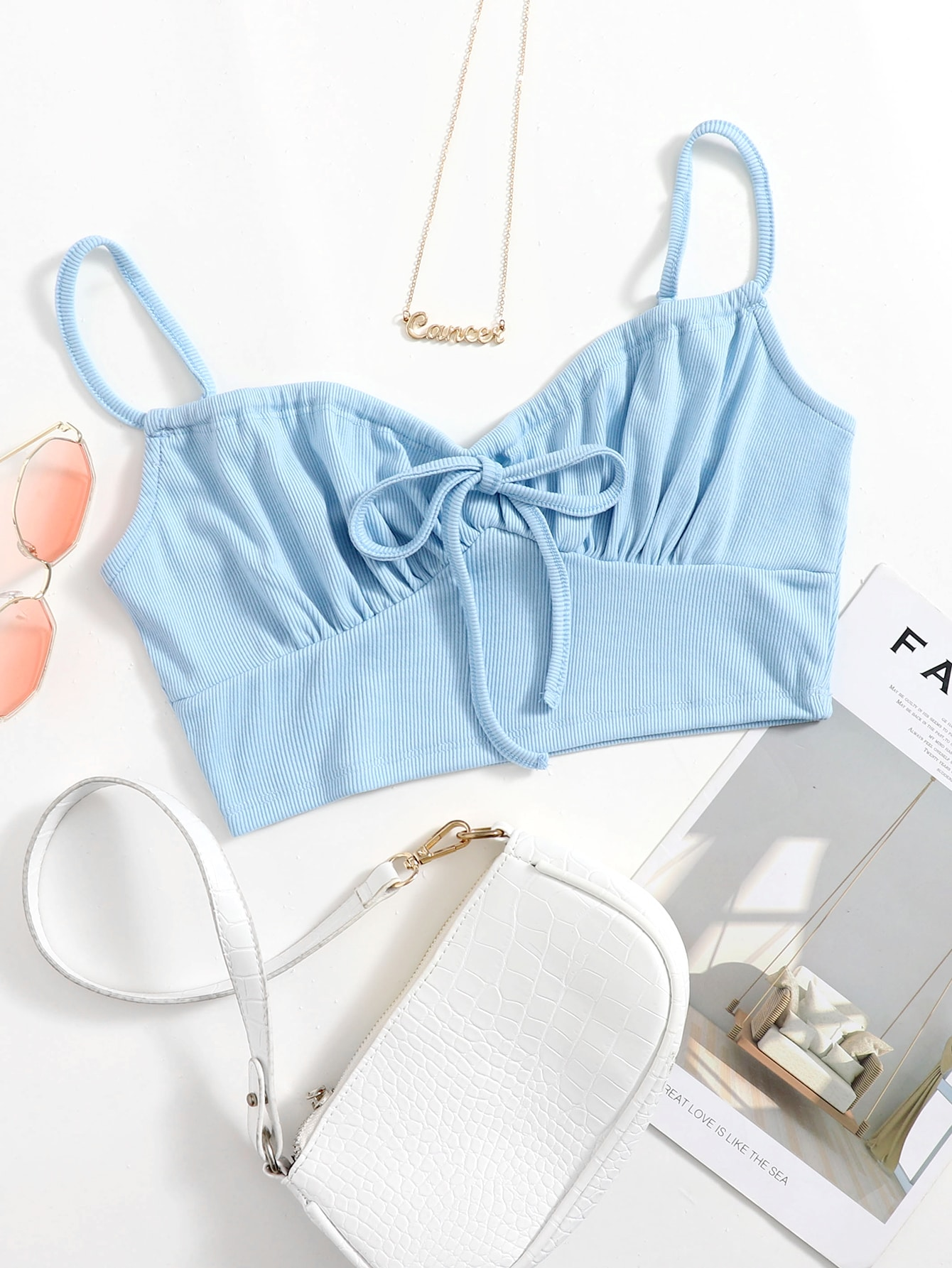 Shirred Self-Tie Cropped Cami Top thumbnail