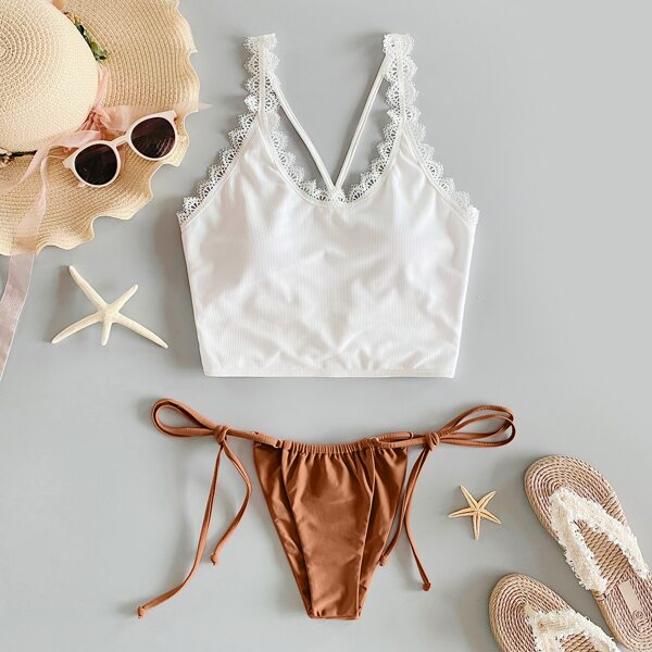 Lace Trim Tie Side Bikini Swimsuit, Multicolor