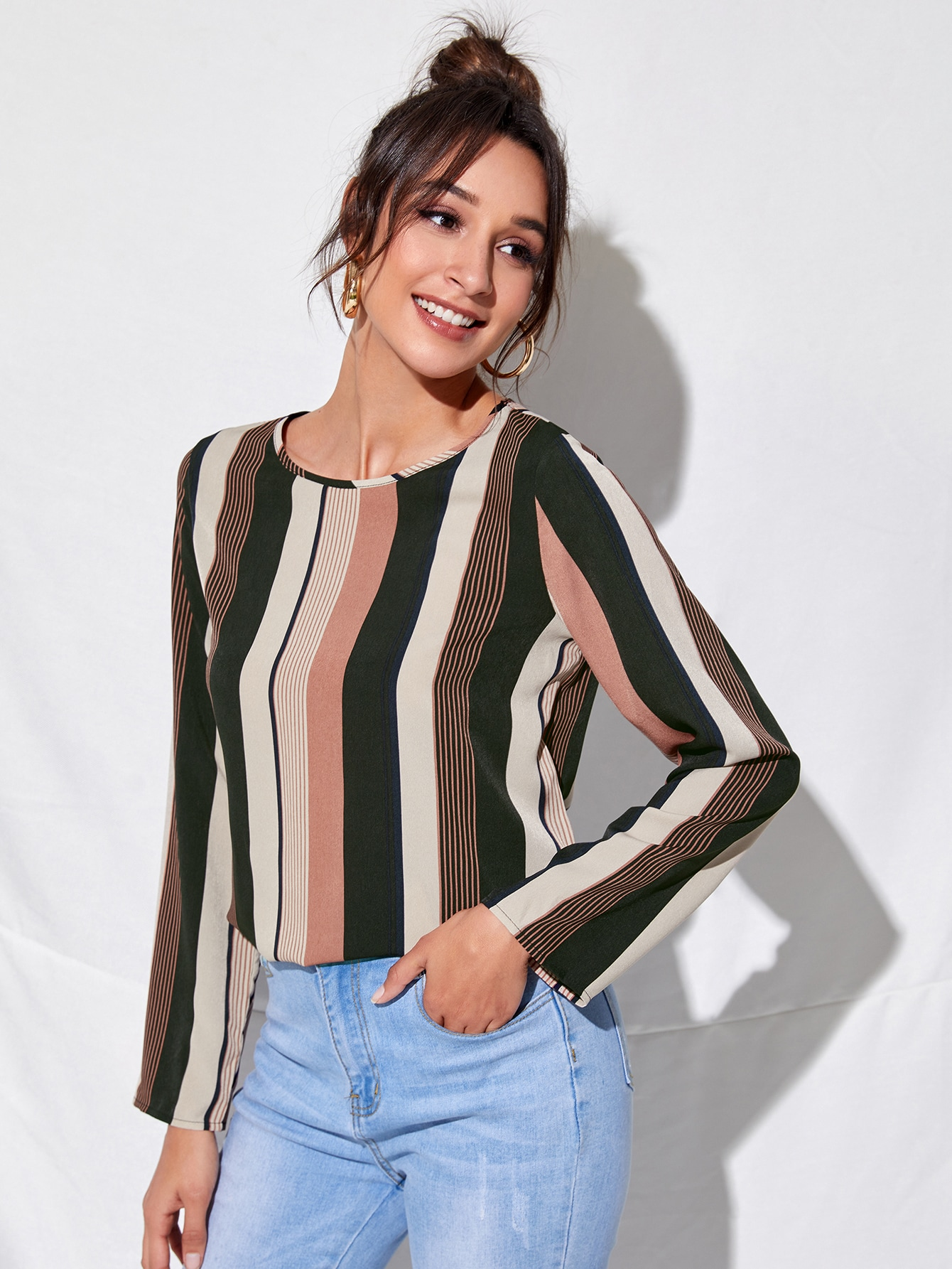 Round Neck Striped Colorblock Top thumbnail