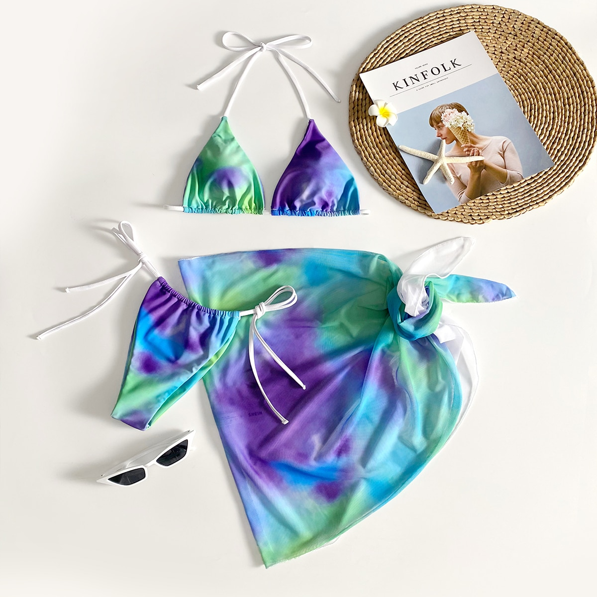 3 пакета бикини и пляжная юбка с принтом тай дай