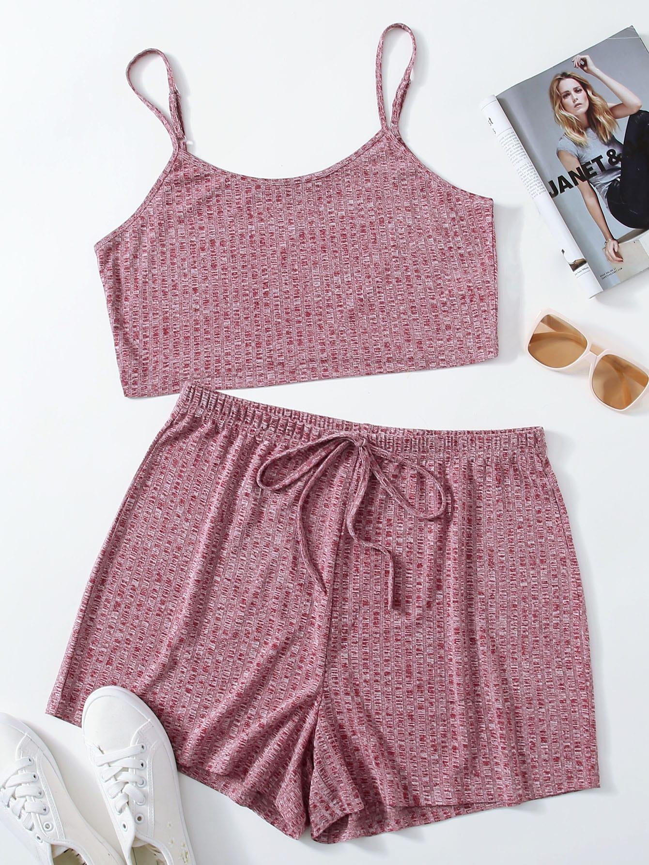Plus Marled Rib-knit Crop Top & Tie Waist Shorts Set thumbnail