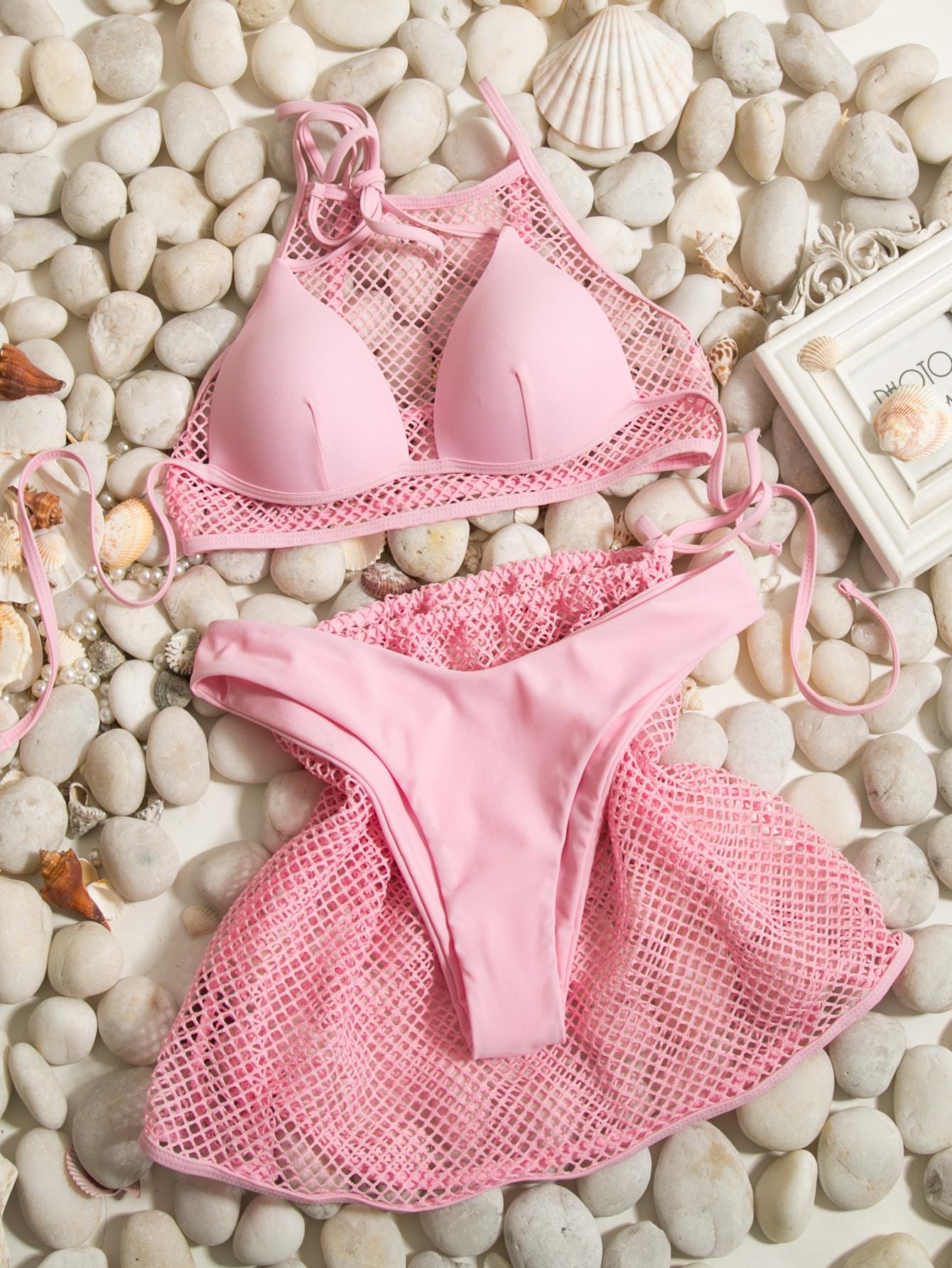 4pack Fishnet Overlay Triangle Bikini Swimsuit thumbnail