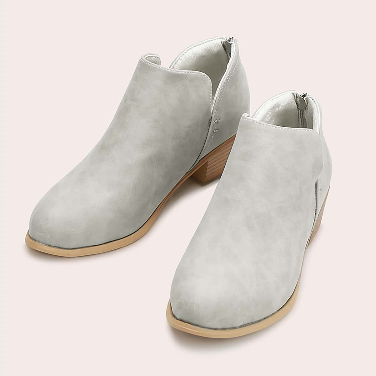 Back Zipper Chunky Heeled Boots, SHEIN  - buy with discount