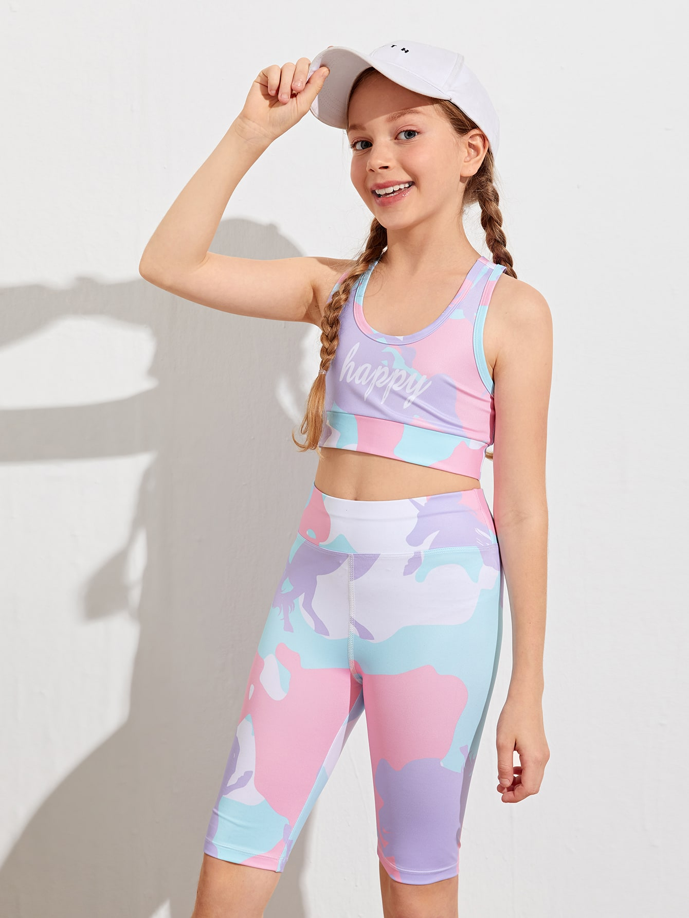 Girls Letter Graphic Colorblock Crop Tank Top & Shorts
